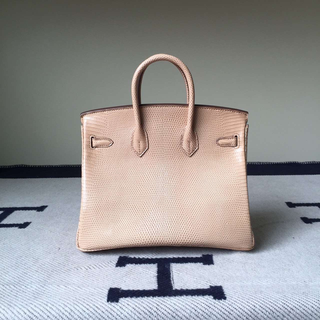 Discount Hermes Birkin Bag 25cm Apricot Lizard Skin Leather