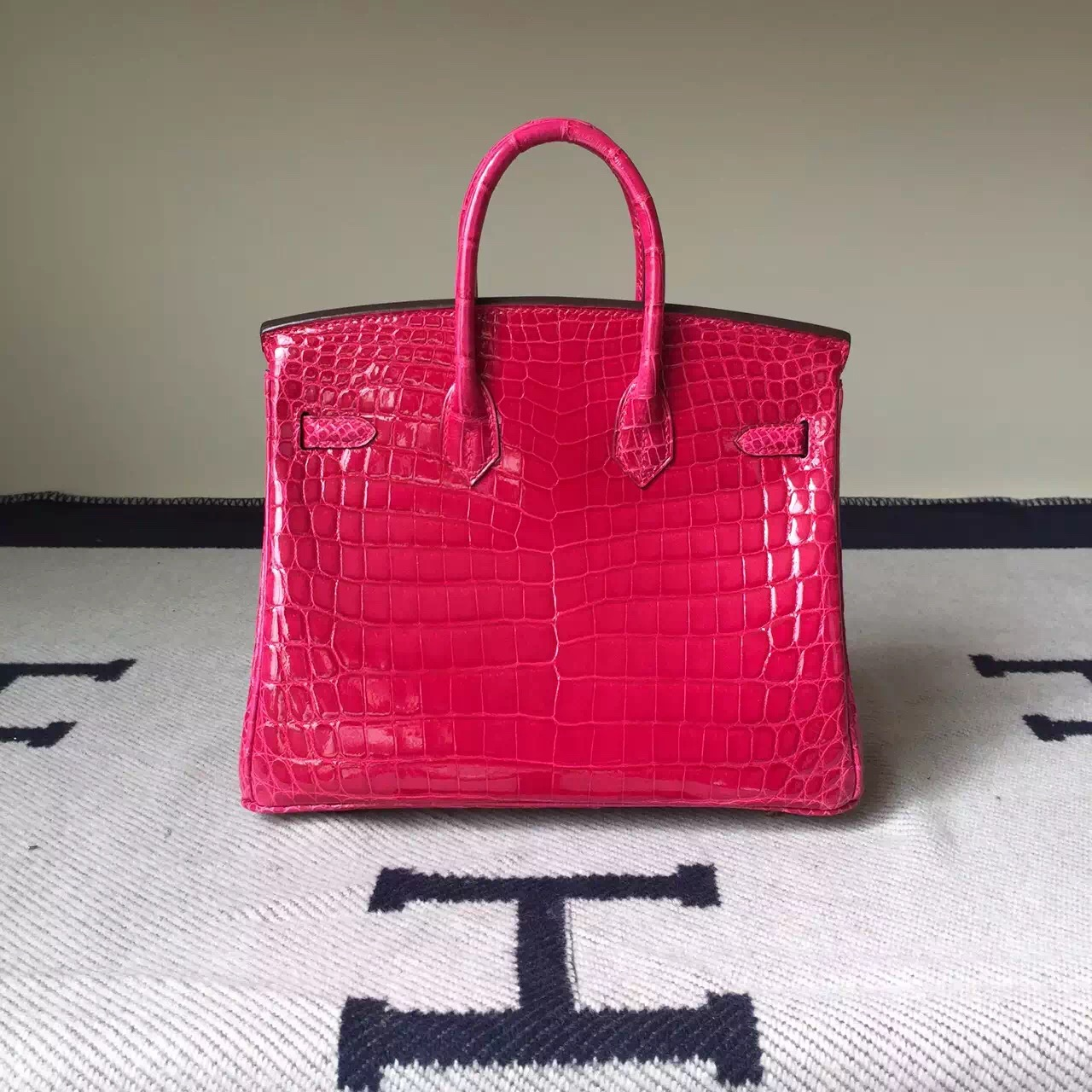 Sale Hermes Hot Pink Crocodile Shiny Leather Birkin Bag 25cm