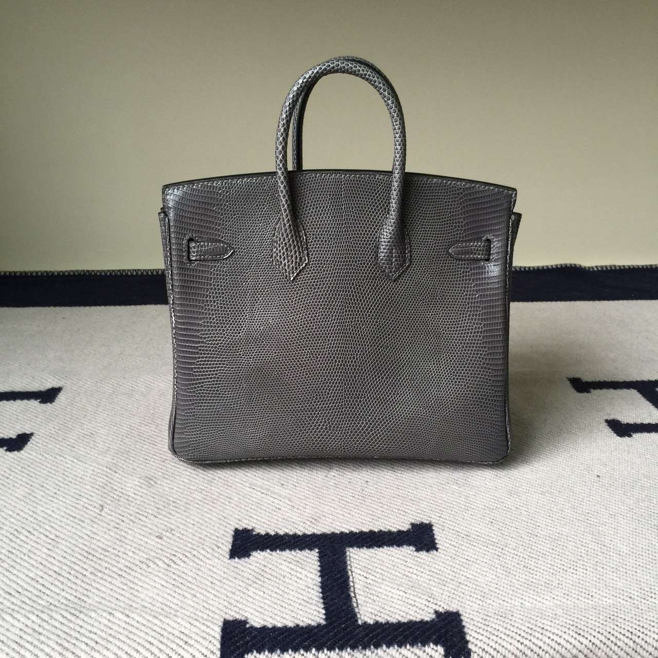 Hand Stitching Hermes Lizard Leather Birkin25cm Bag in Galaxy Grey