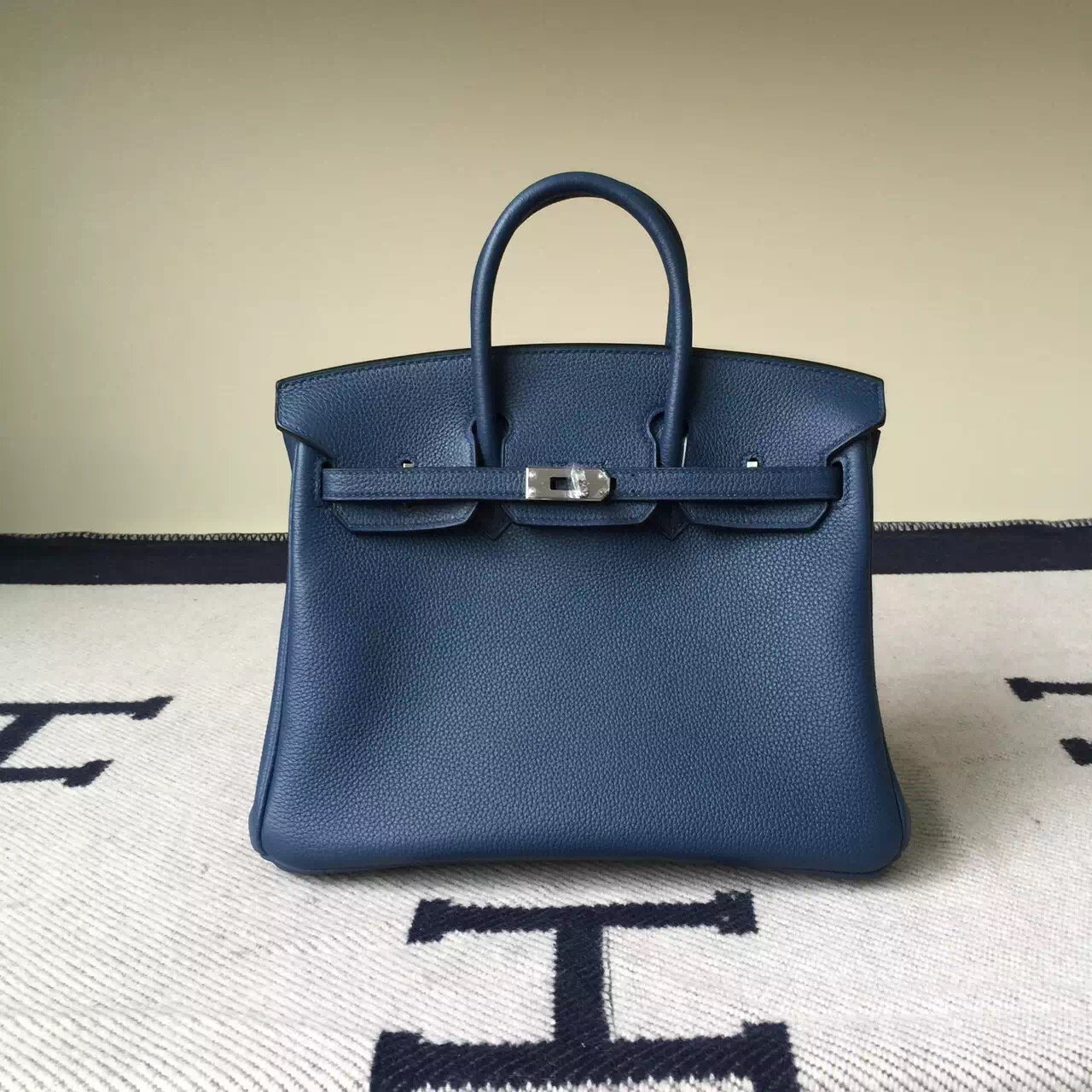 Discount Hermes Togo Calfskin Leather Birkin25cm Bag in Blue Duck