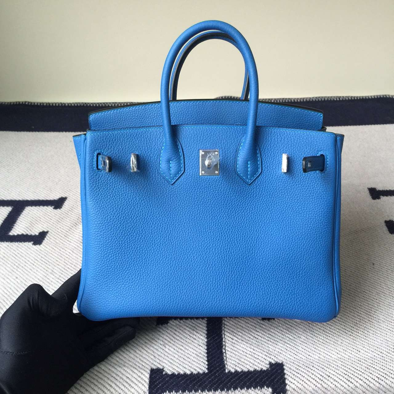 Hand Stitching Hermes Birkin25cm 7Q Mykono Blue Togo Leather Handbag