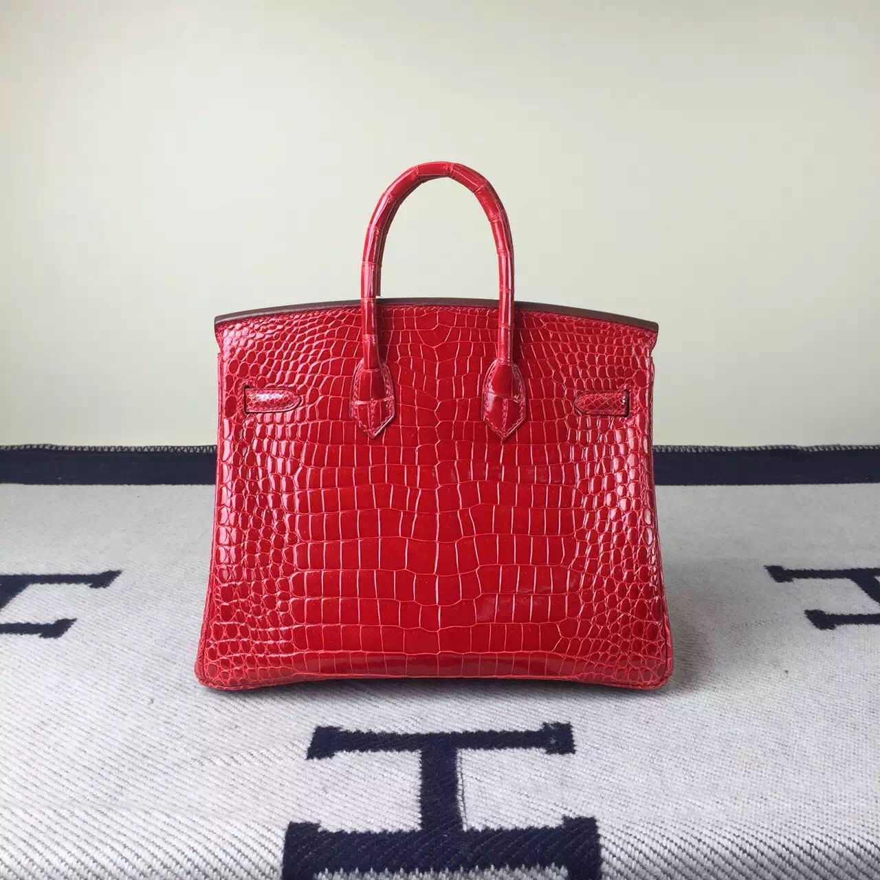Hot Sale Hermes Crocodile Shiny Leather Birkin25cm in Braise Red