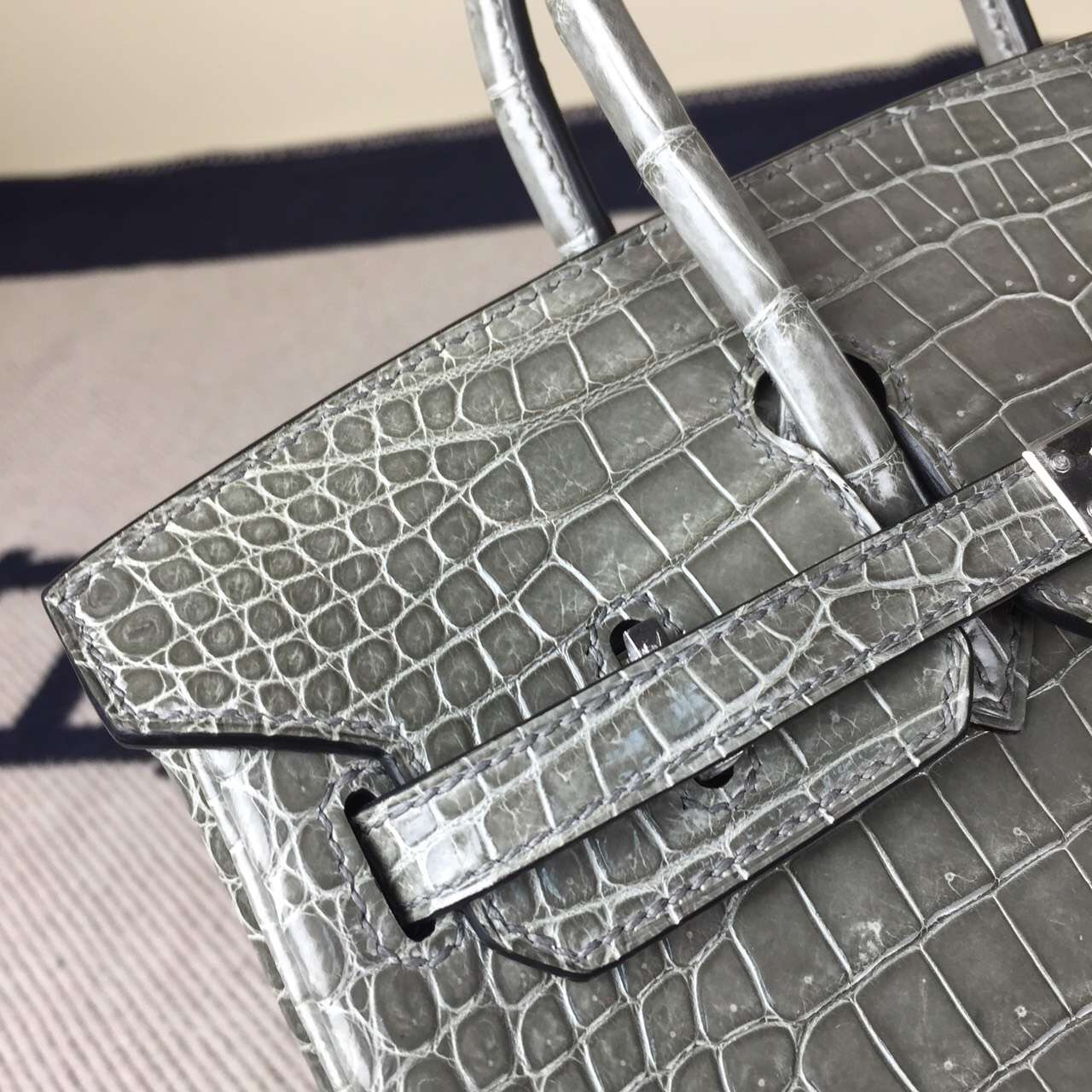 On Line Hermes Birkin Bag 25cm Gris Tourterelle Crocodile Shiny Leather