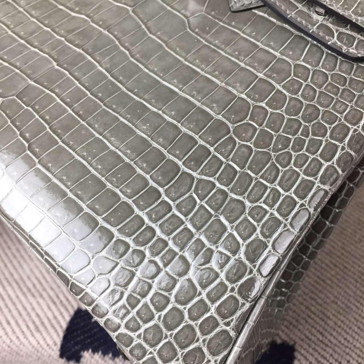 On Line Hermes Birkin Bag 25cm Gris Tourterelle Crocodile Shiny Leather