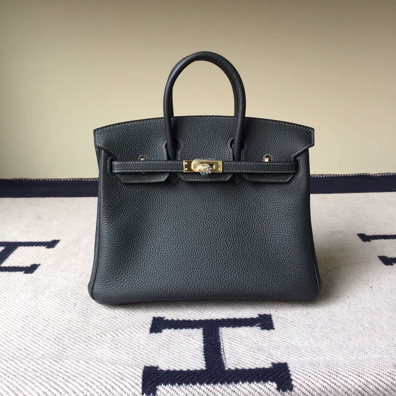 Wholesale Hermes Togo Leather Birkin25cm Bag in 33 Graphite Grey