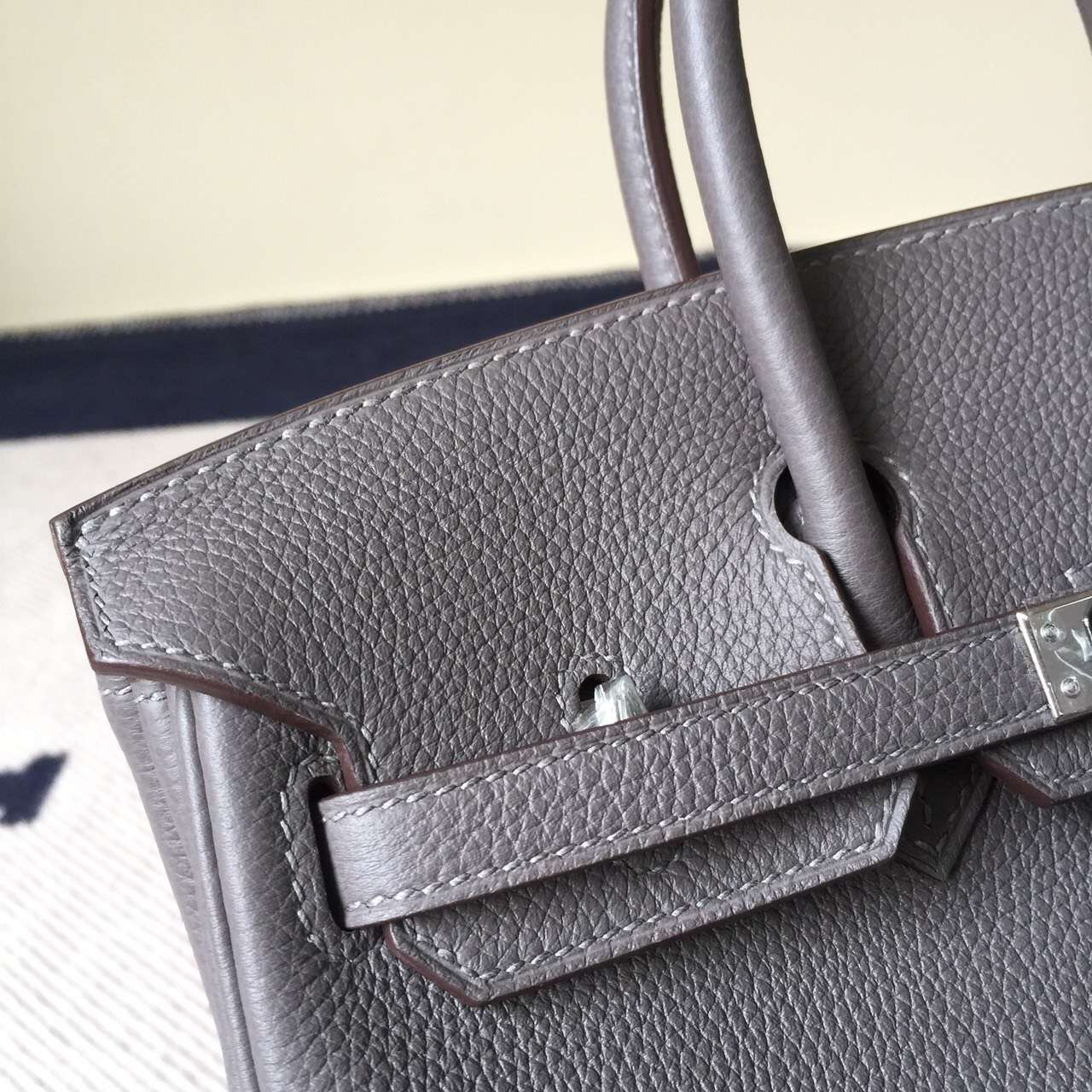 Discount Hermes 8F Etain Grey Togo Calf Leather Birkin Bag 25cm