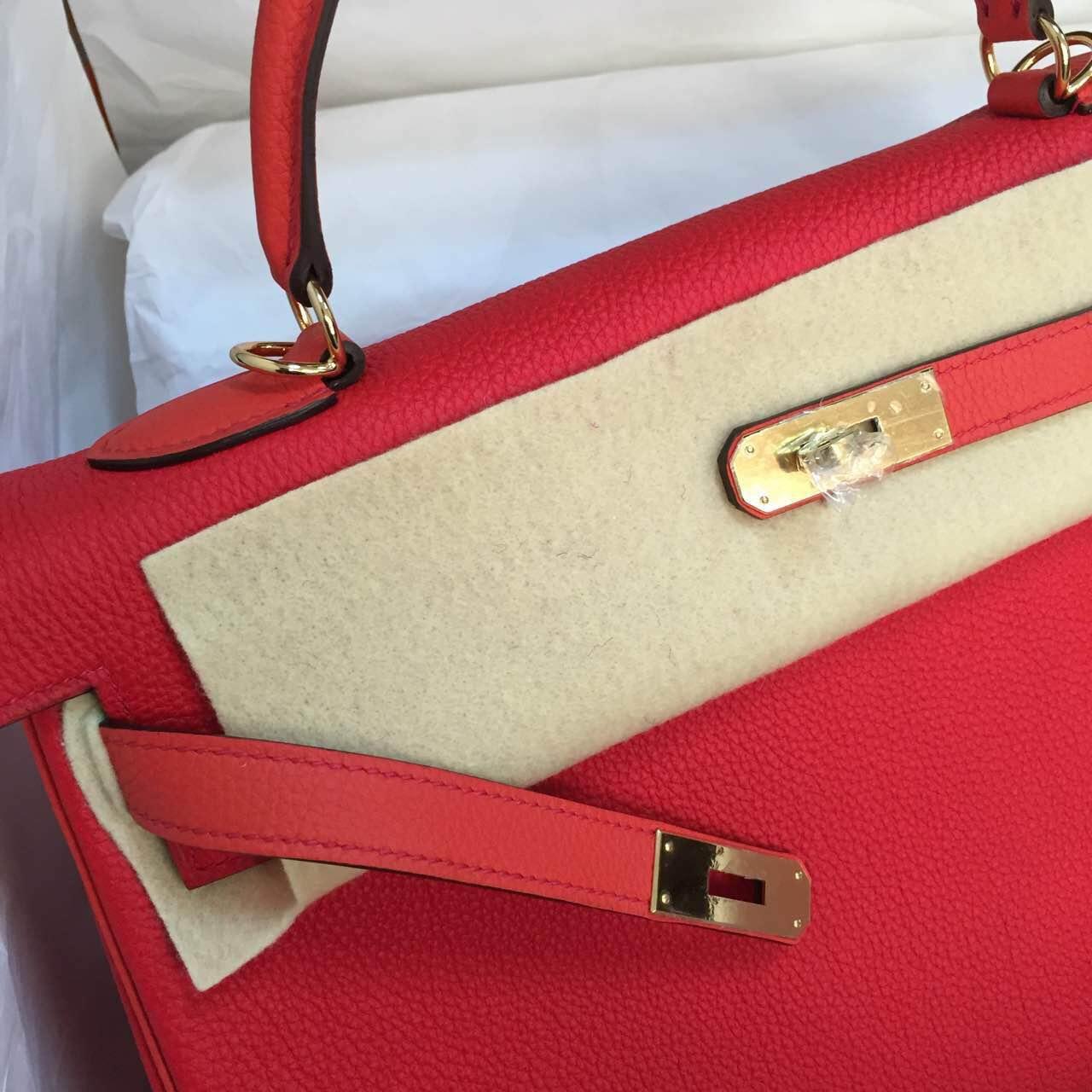 Cheap Hermes Kelly Bag35cm Retourne Q5 Candy Red & 9T Flame Red Togo Calfskin Leather Handbag