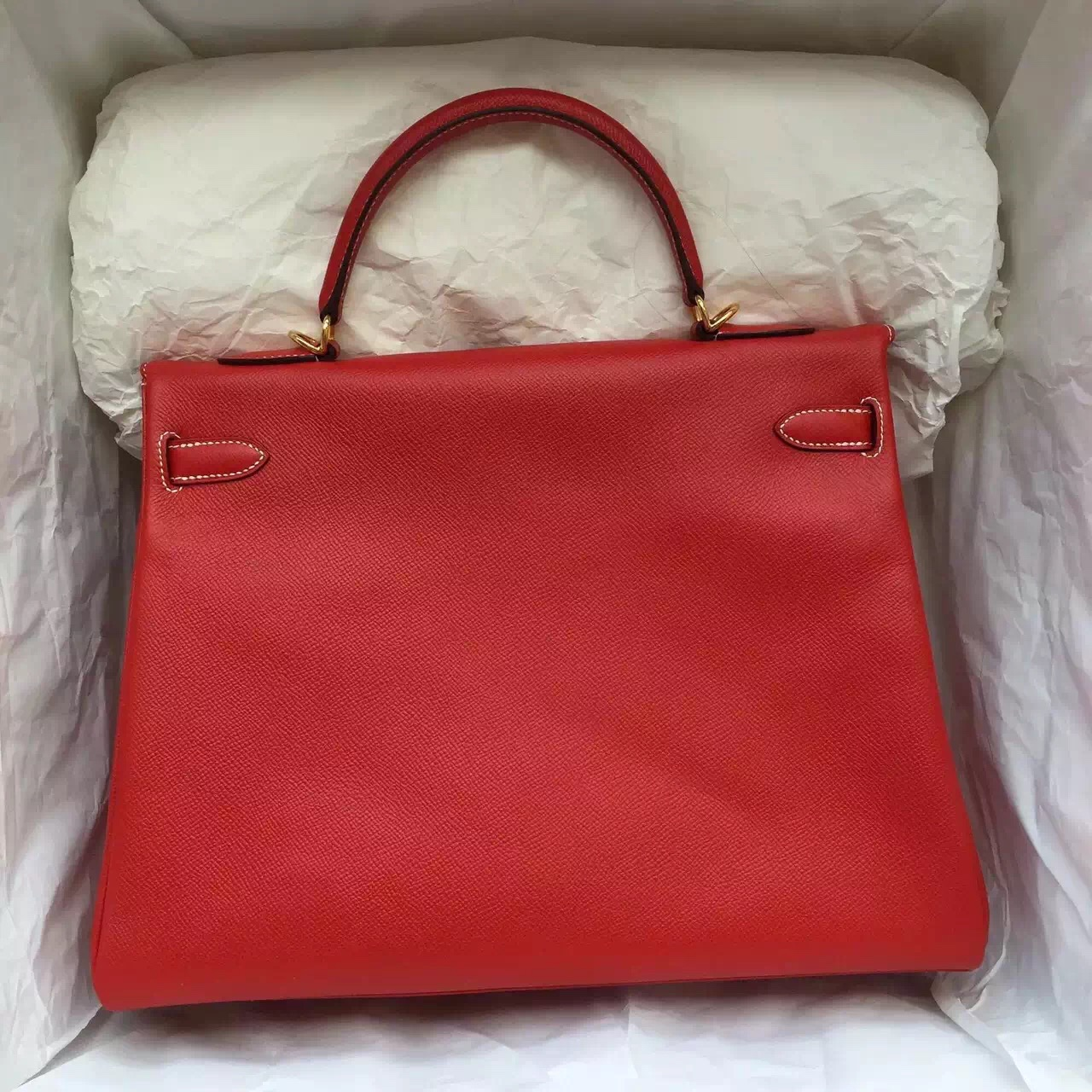 Discount Hermes Kelly Bag 35CM Chinese Red Epsom Leather with White Stitching Line