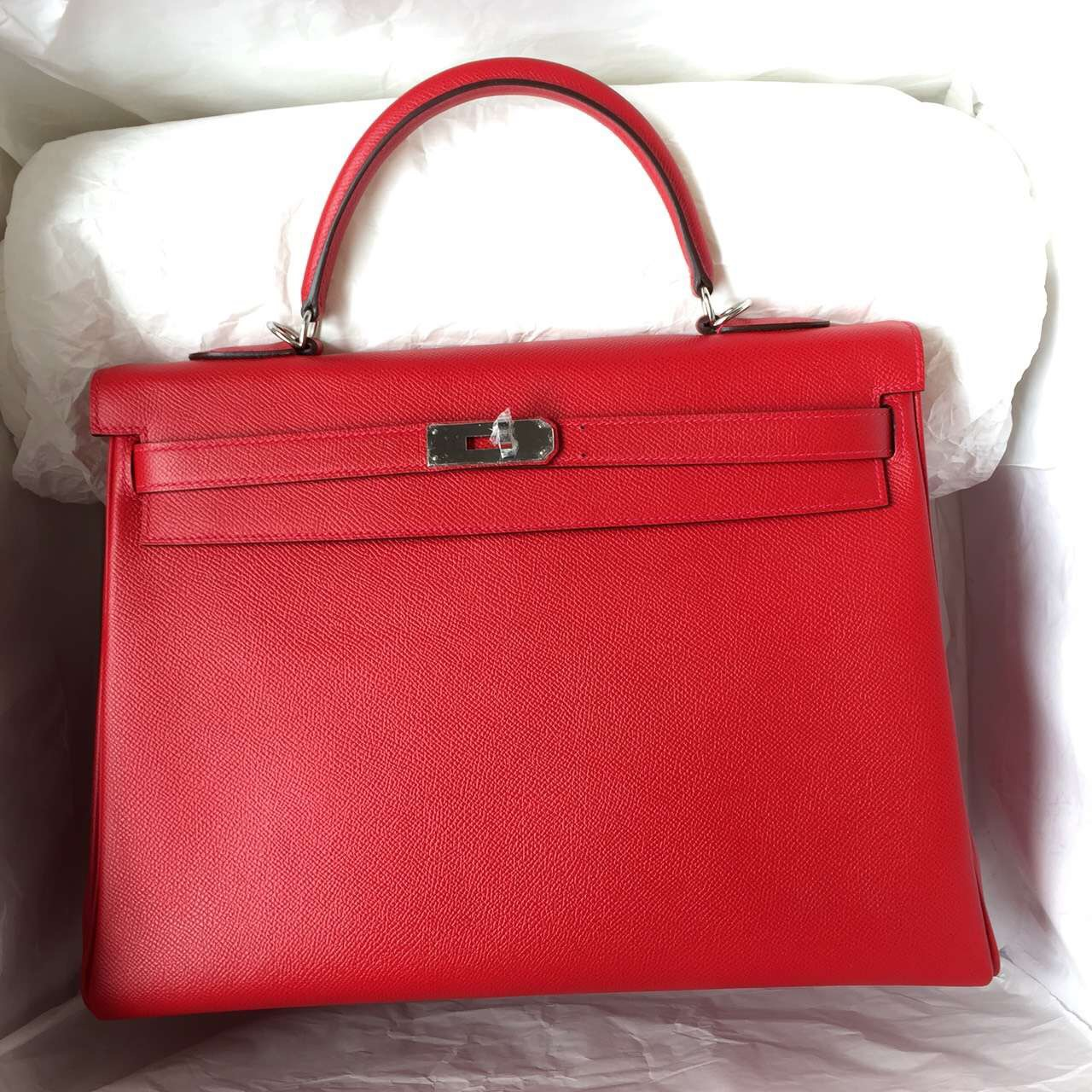 Cheap Hermes Q5 Chinese Red Kelly Bag 35cm Retourne Epsom Leather Tote Bag