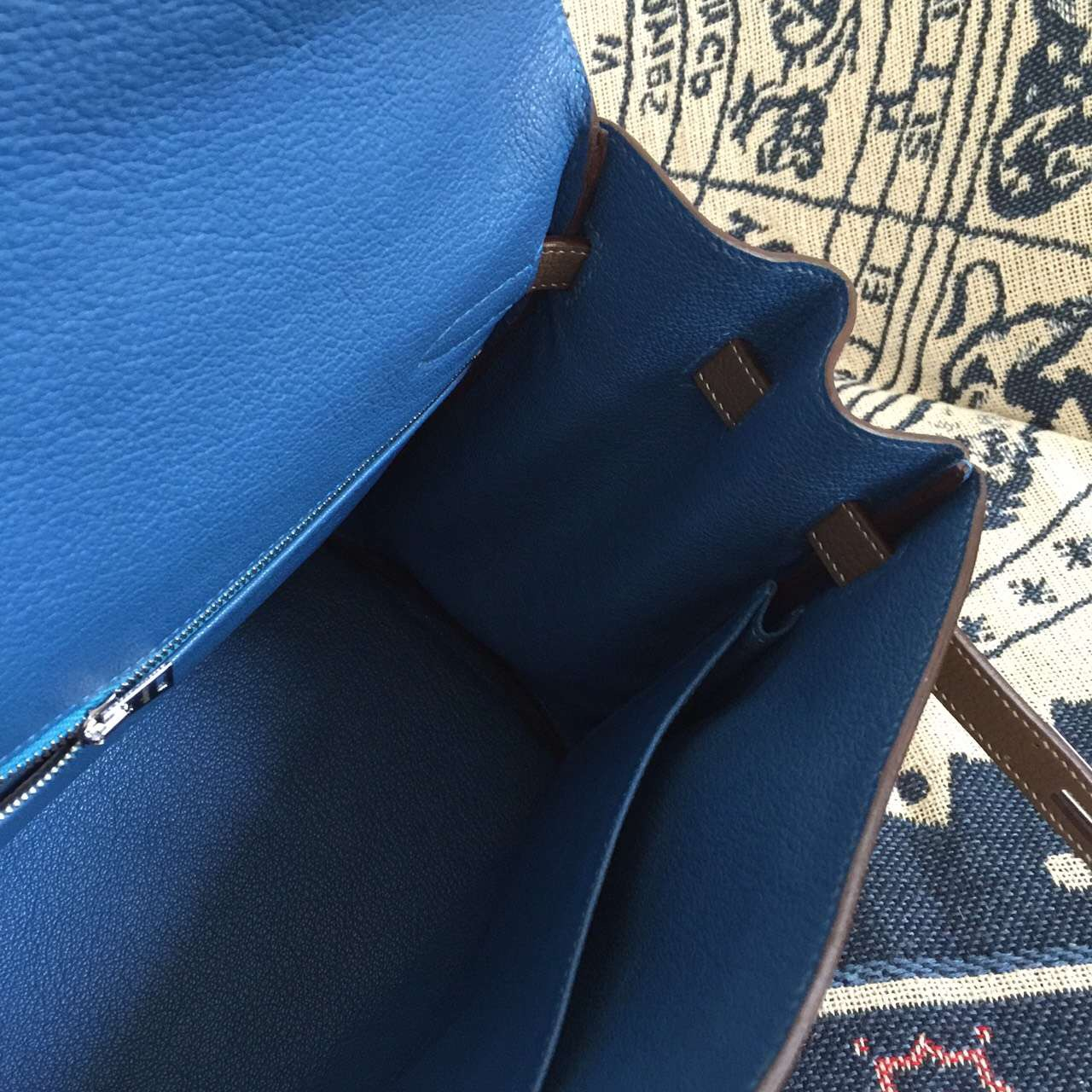 Wholesale Hermes Etoupe Grey/7Q Cribe Blue inner Togo Leather Kelly Bag 35CM Retourne