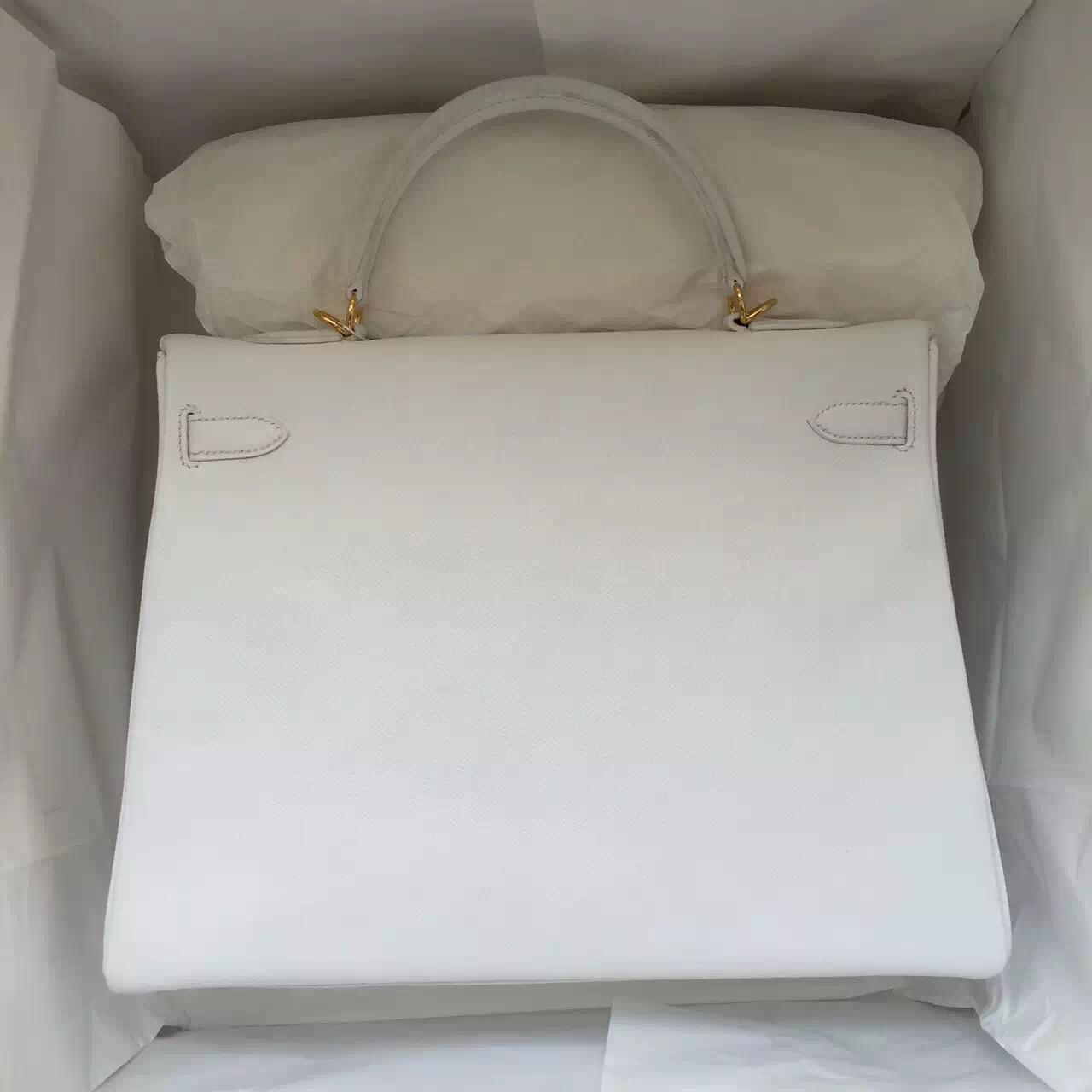 Hermes White Epsom Calfskin Leather Kelly Bag 35CM Retourne Gold Hardware