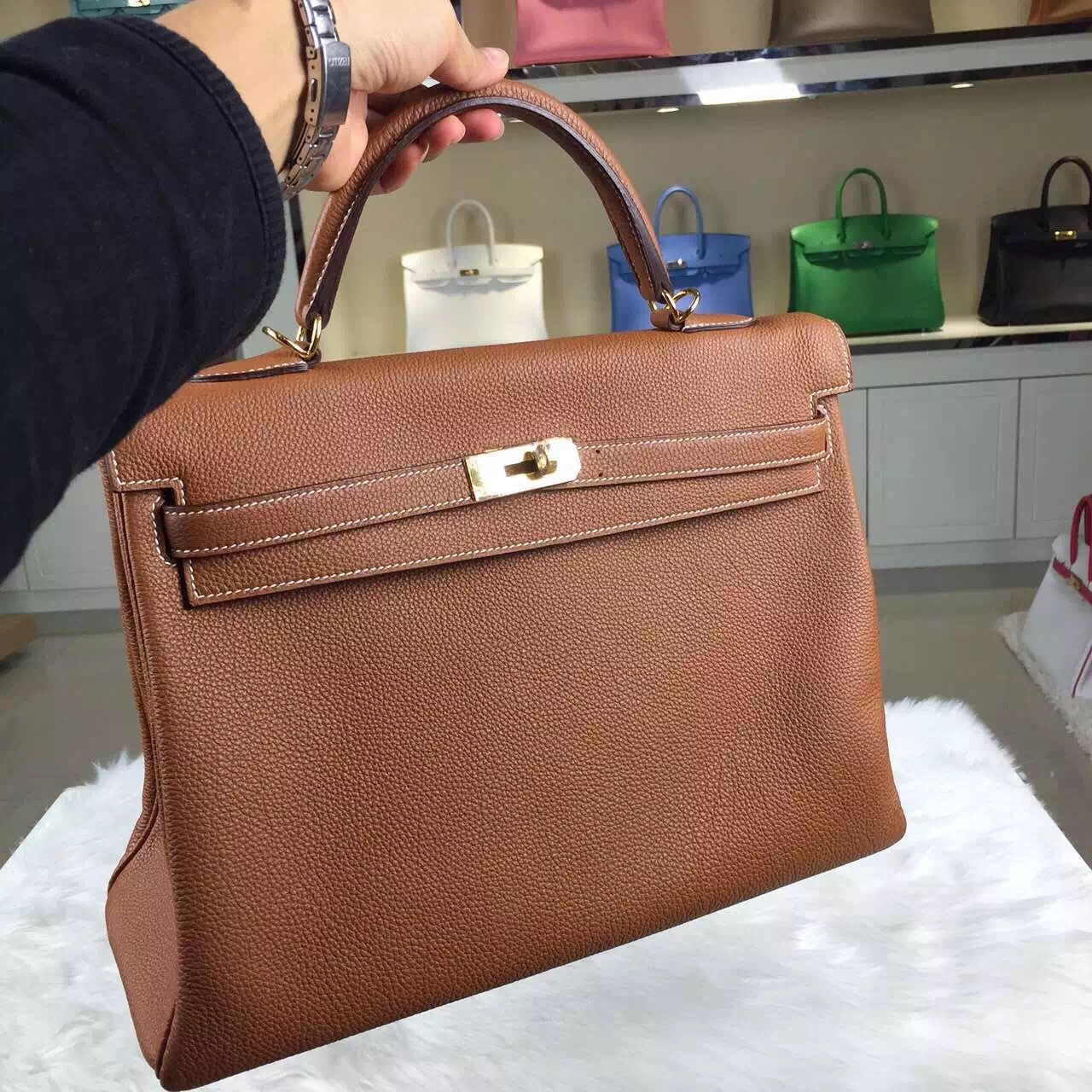 Vip Customized Hermes Brown France Togo Leather Kelly Bag 35CM Women's Top Handles