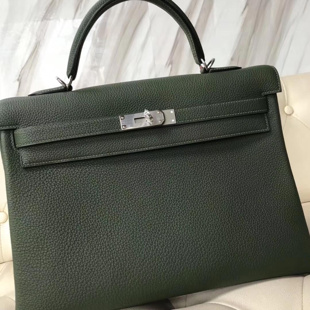 Wholesale Hermes V6 Canopee Green Togo Calf RetourneKelly35CM Bag Silver Hardware