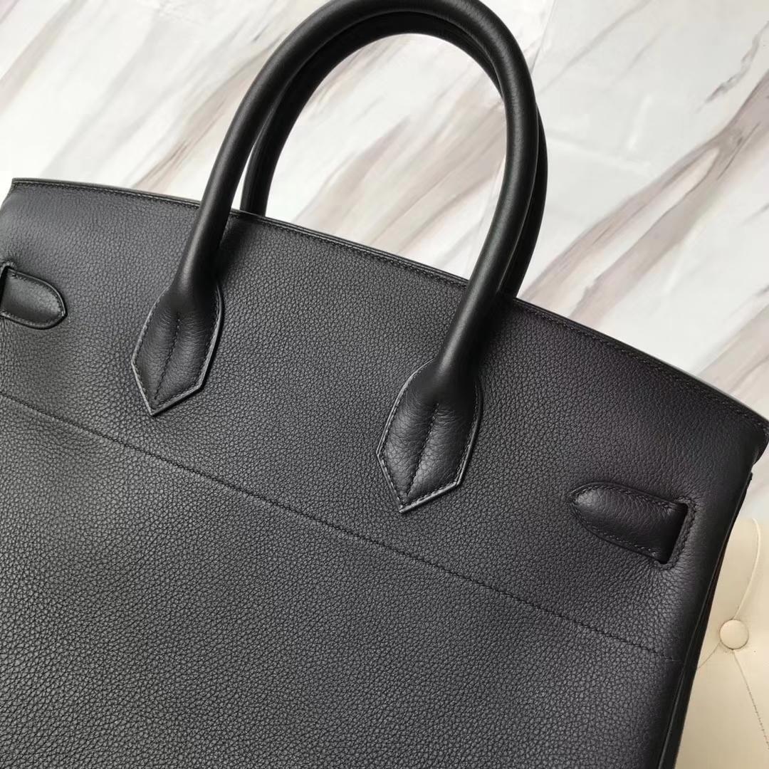 Hermes Birkin 40 Black Togo Calf Silver Hardware Tote Bag