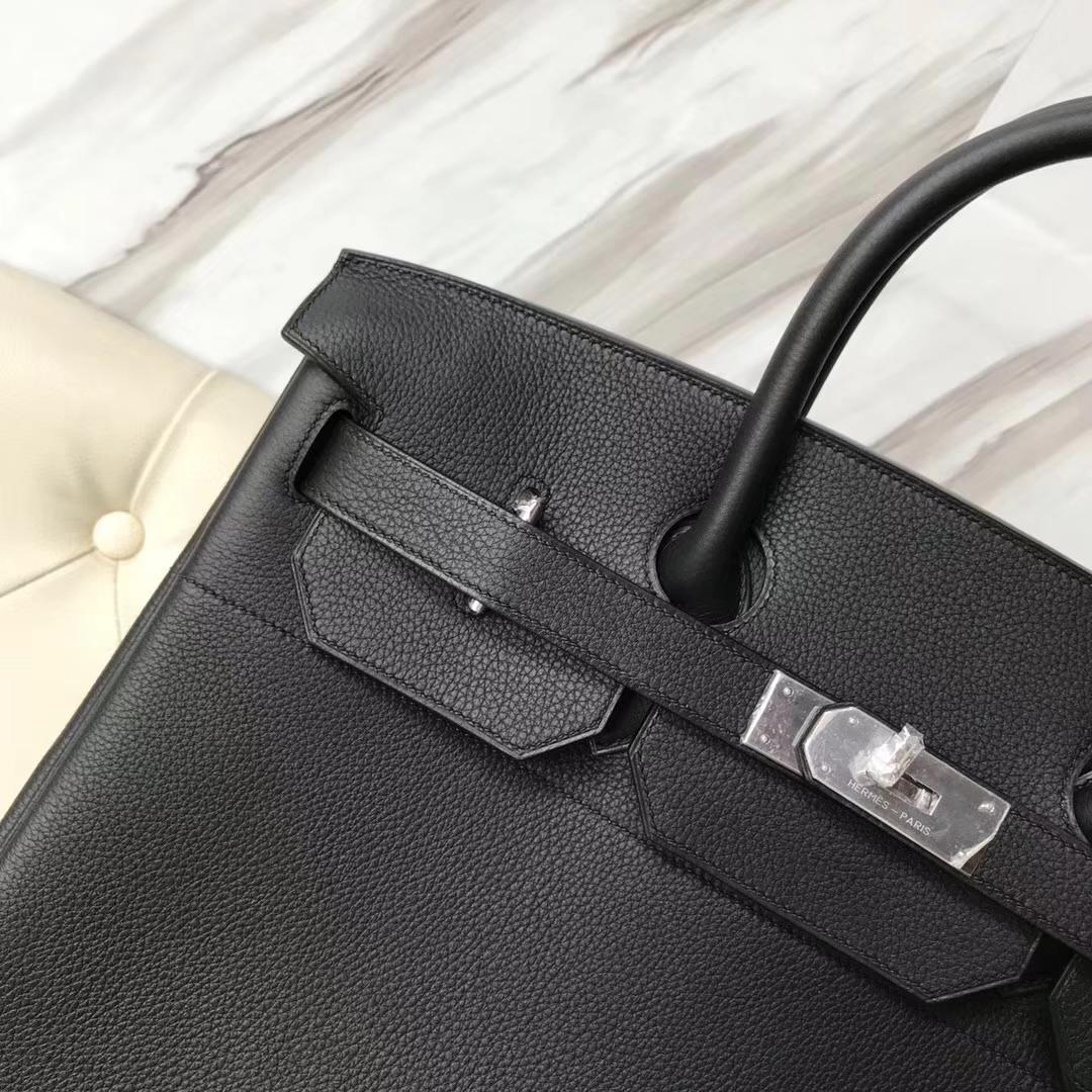 Hermes Togo Birkin 40 Black Calf Silver Hardware Tote Bag