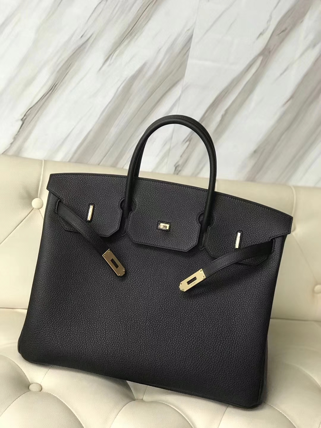 Hermes Birkin 40 Black Togo Palladium Hardware BAG