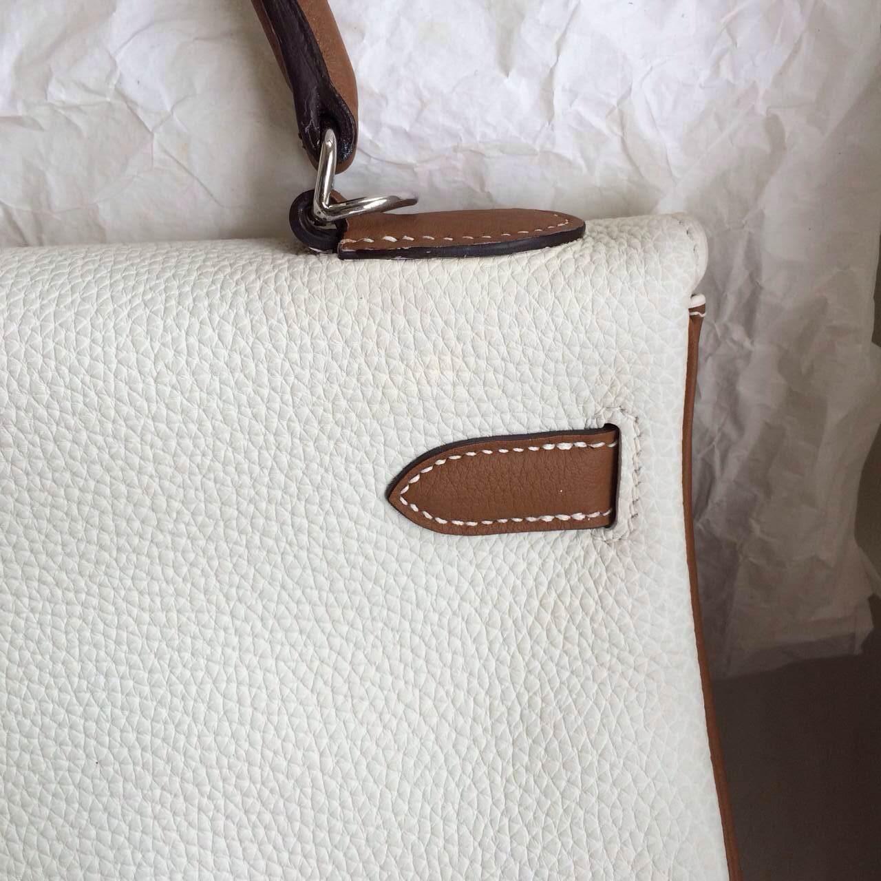 Cheap Hermes Kelly Bag 32cm Retourne in White/Tan Togo Leather Silver Hardware