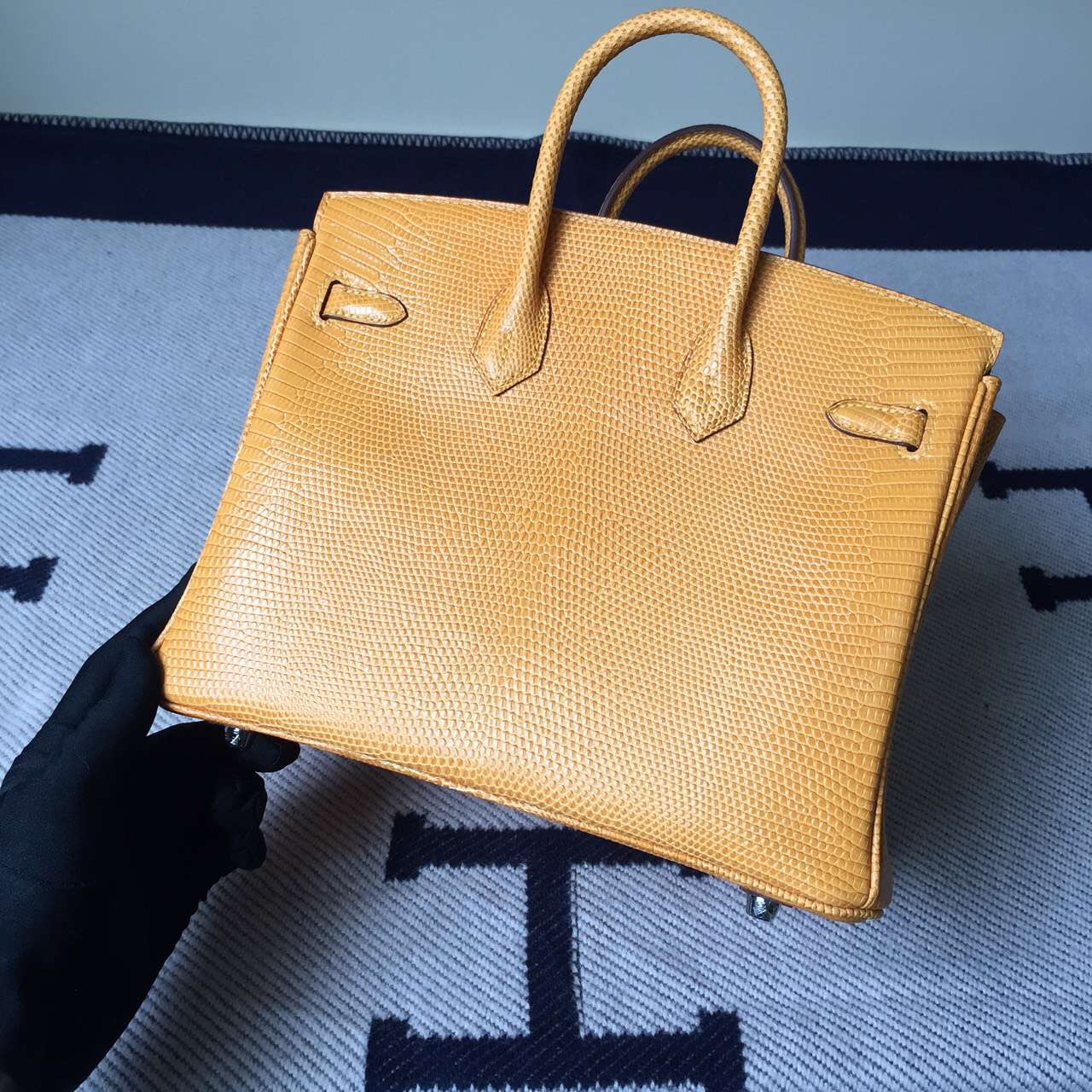 New Arrival Hermes 9V Sun Yellow Lizard Leather Birkin Bag25cm