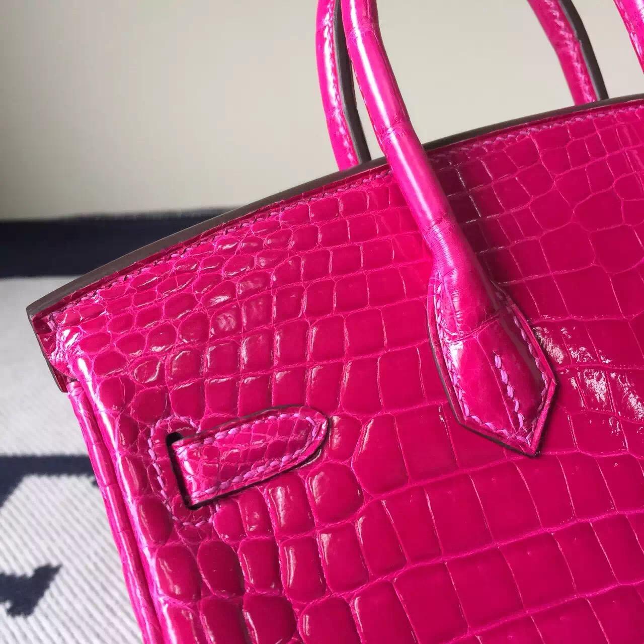 Cheap Hermes Crocodile Shiny Leather Birkin25cm in J5 Rose Scheherazade