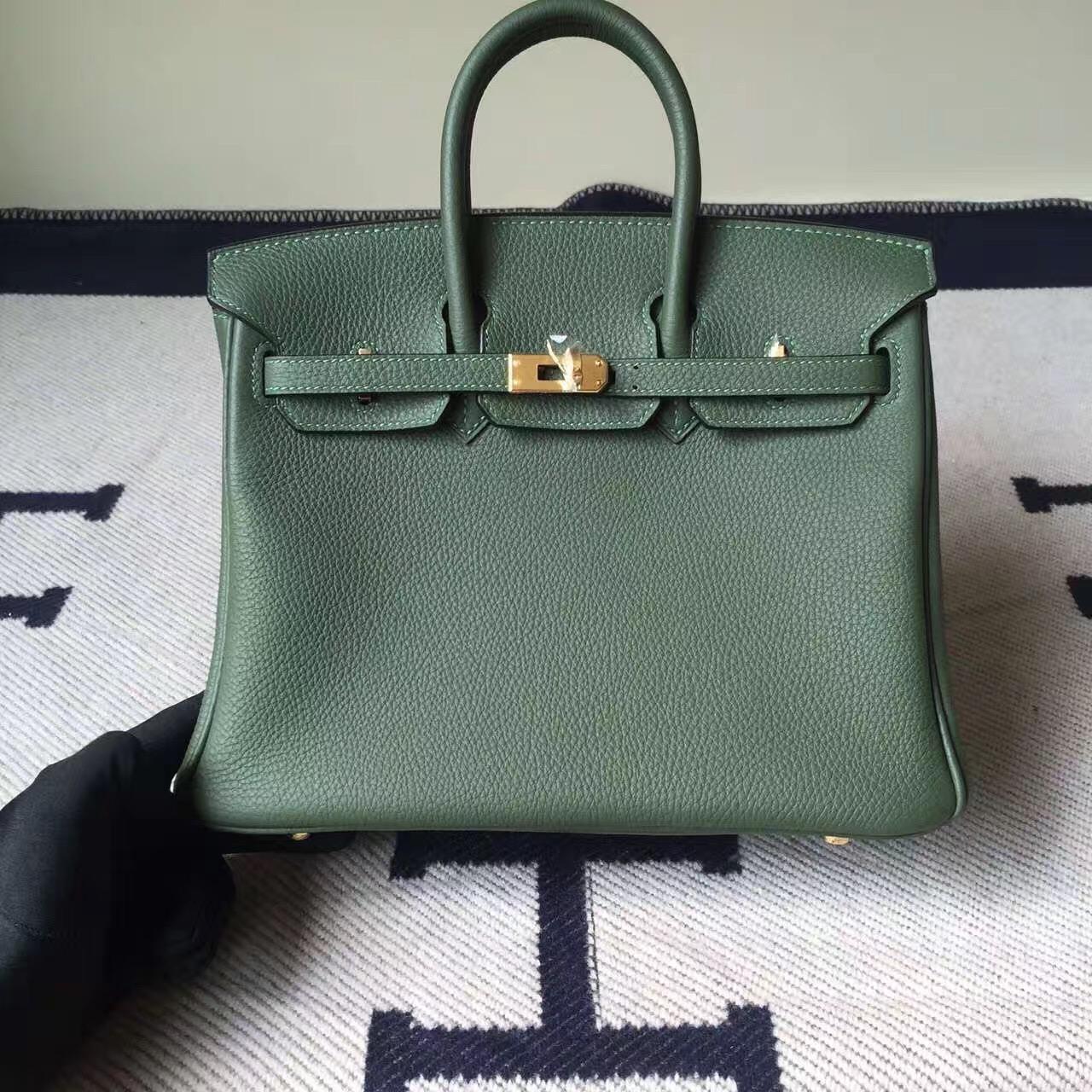 On Sale Hermes V6 Canopee Green Togo Calfskin Leather Birkin25cm Bag