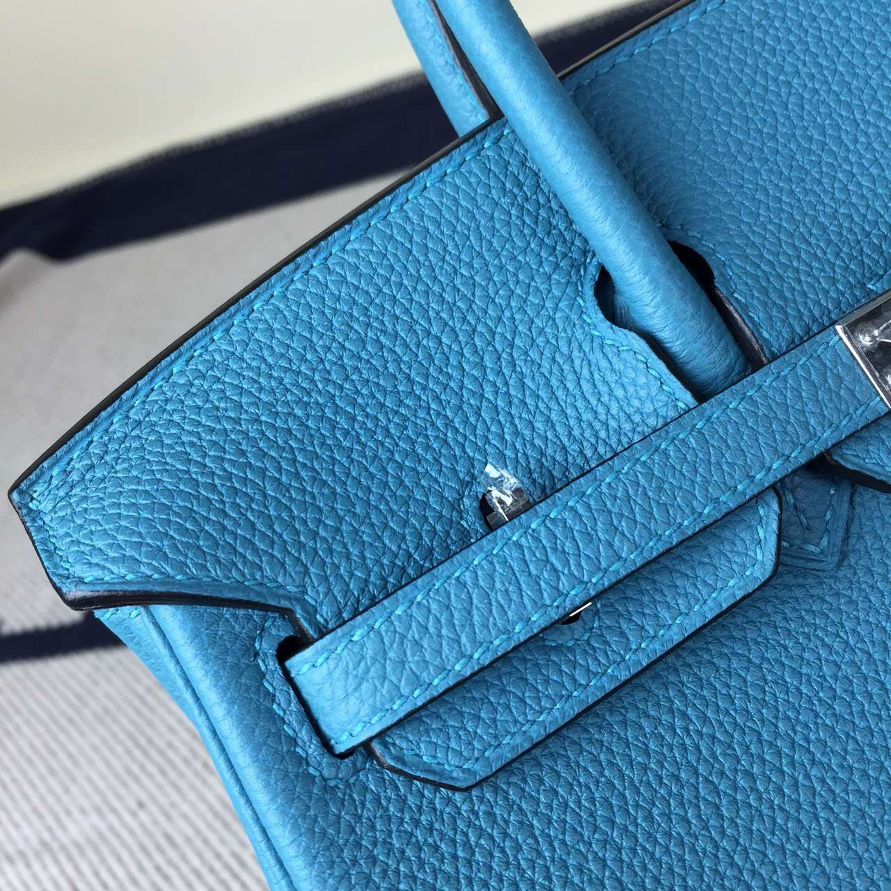 Discount Hermes 7B Turquoise Blue Togo Leather Birkin25cm Handbag
