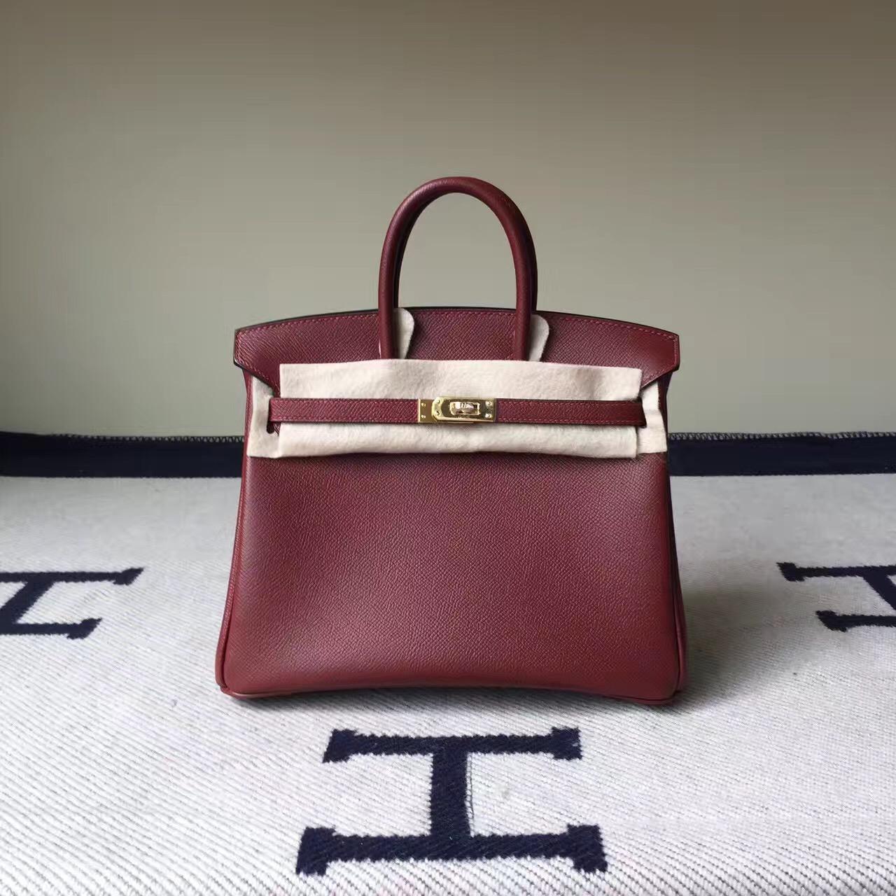 Hand Stitching Hermes CK55 Rouge Hermes Epsom Leather Birkin25cm Tote Bag