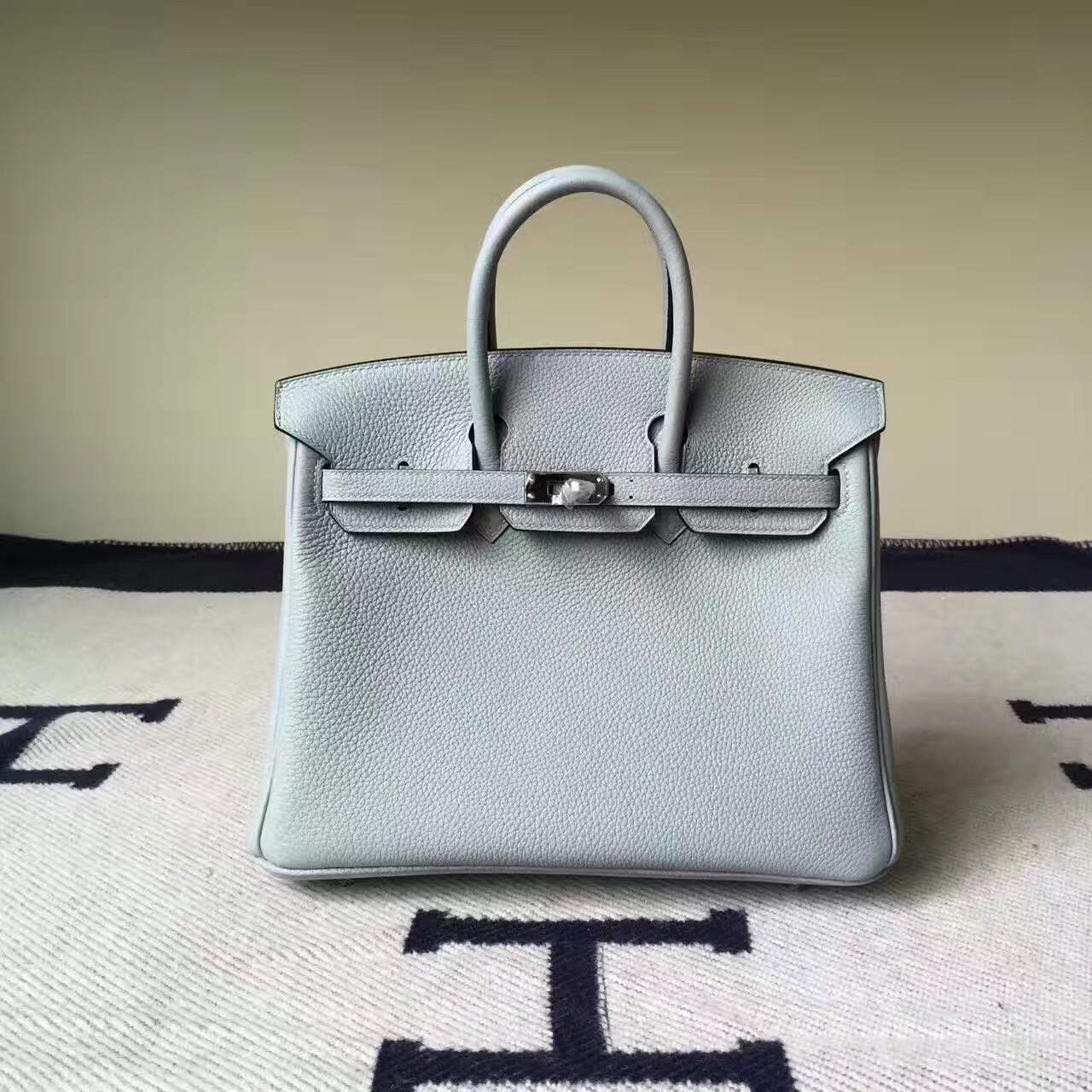 Discount Hermes 8U Glacial Blue Togo Calfskin Leather Birkin Bag 25cm