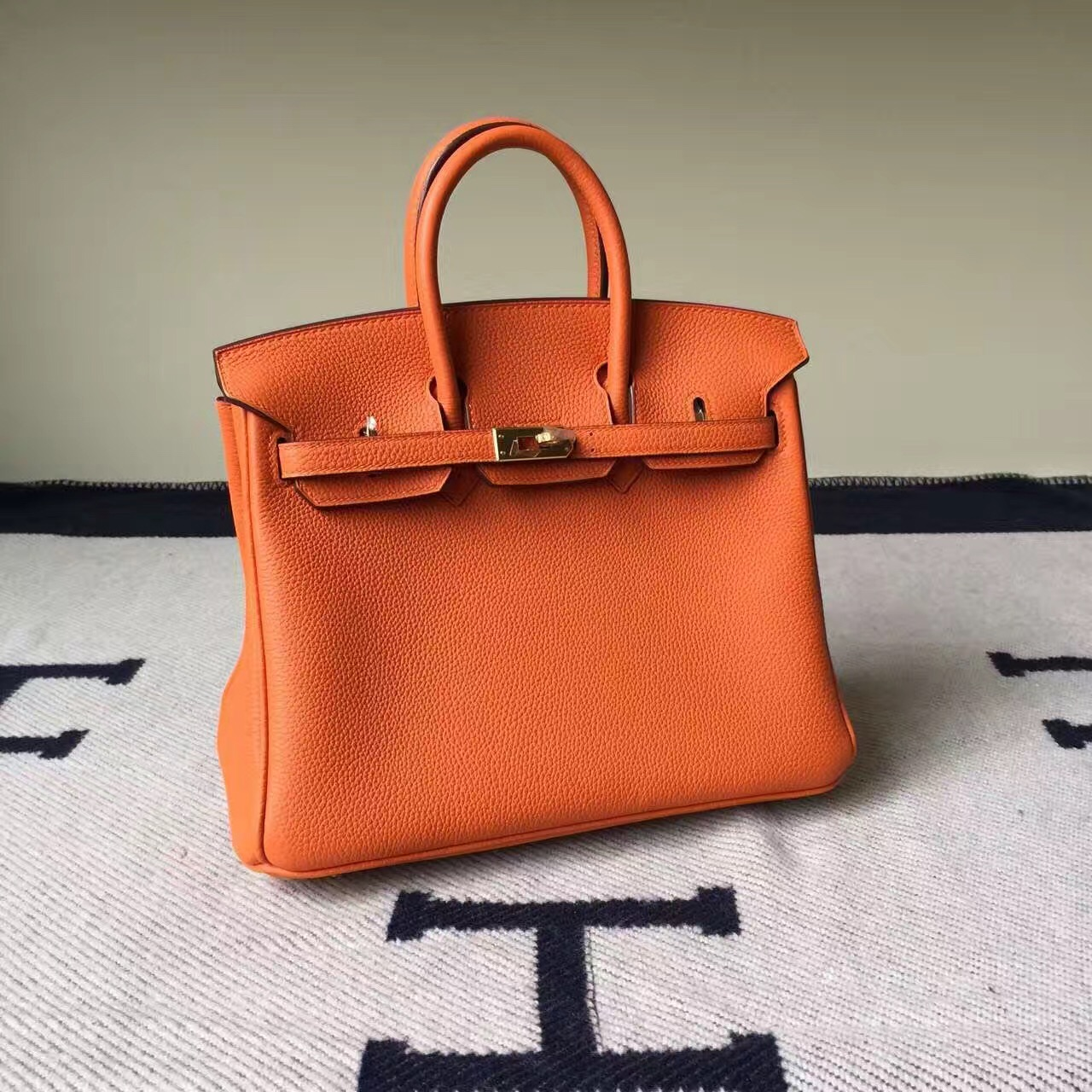 Hermes Website Togo Calfskin Leather Hermes Birkin25cm Bag in CK93 Orange