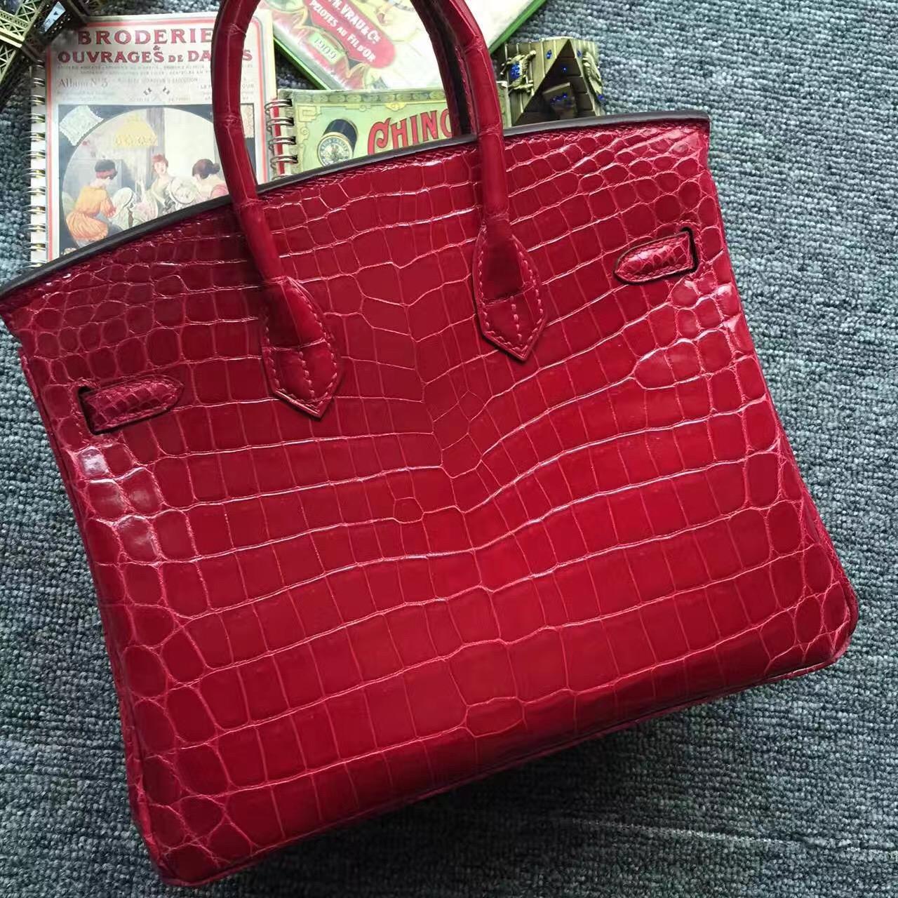 Wholesale Hermes Q5 Rouge Casaque Crocodile Shiny Leather Birkin Bag 25cm