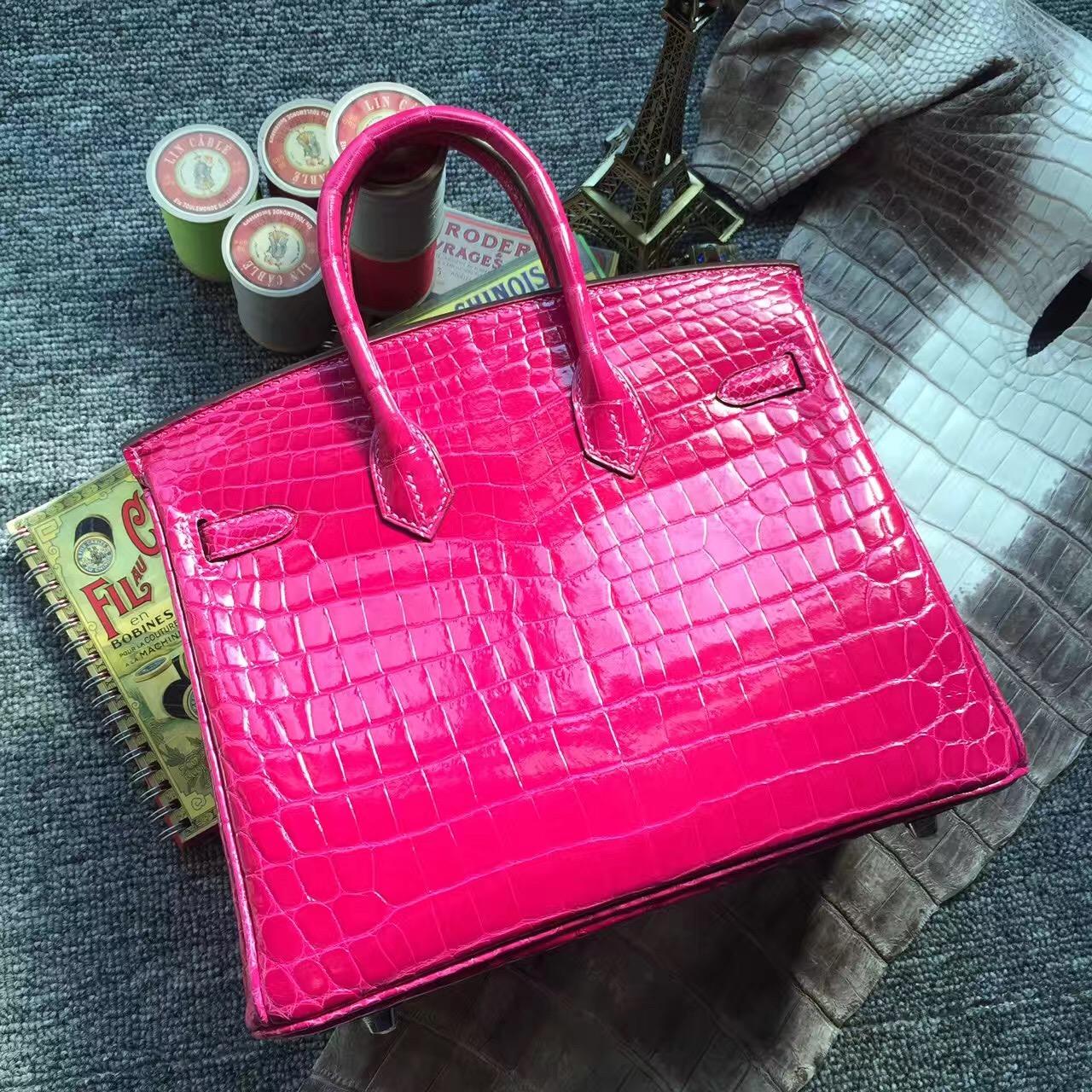 New Pretty Hermes J5 Rose Scheherazade Crocodile Shiny Leather Birkin25cm Bag