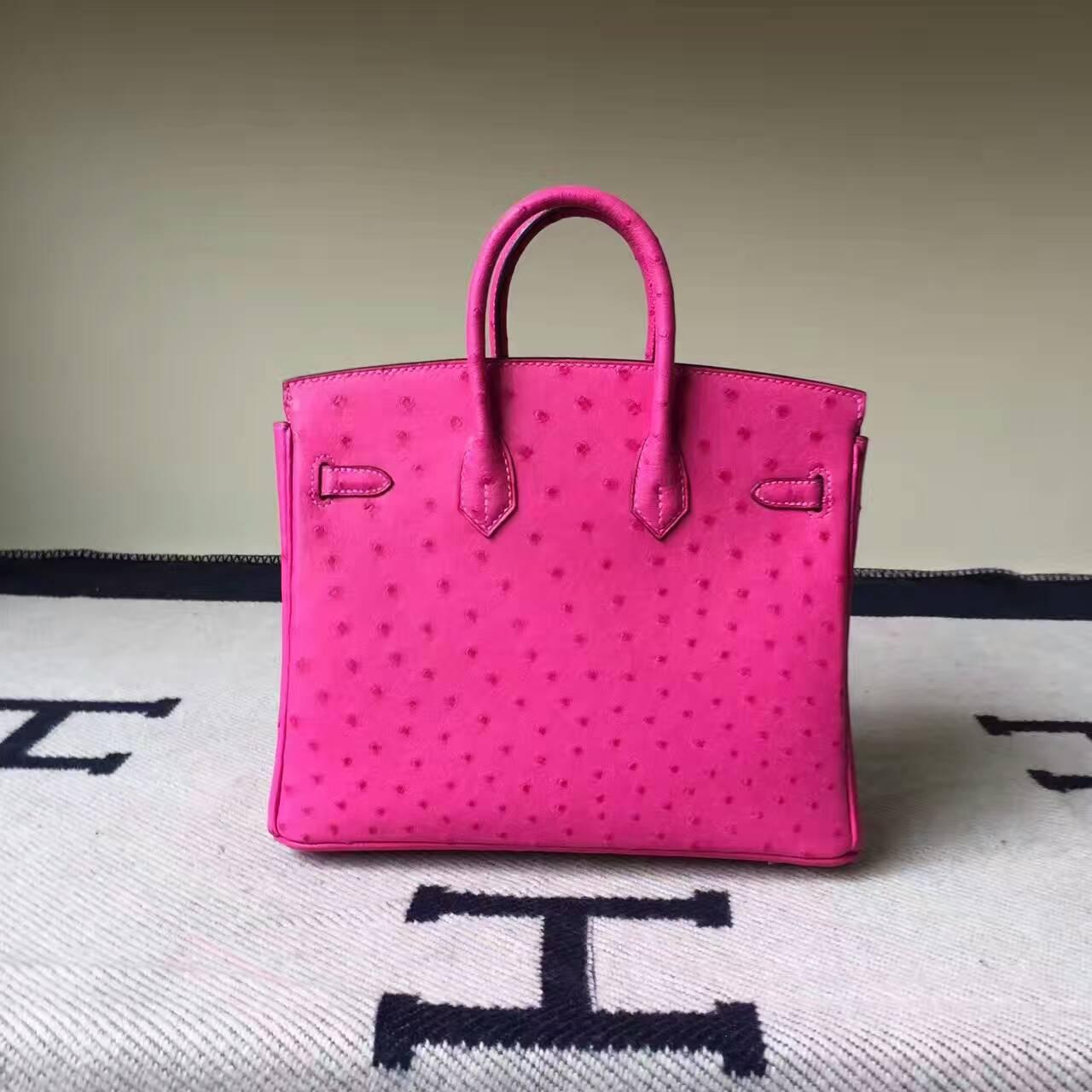 Wholesale Hermes Hot Pink KK Ostrich Leather Birkin Bag25cm Silver Hardware