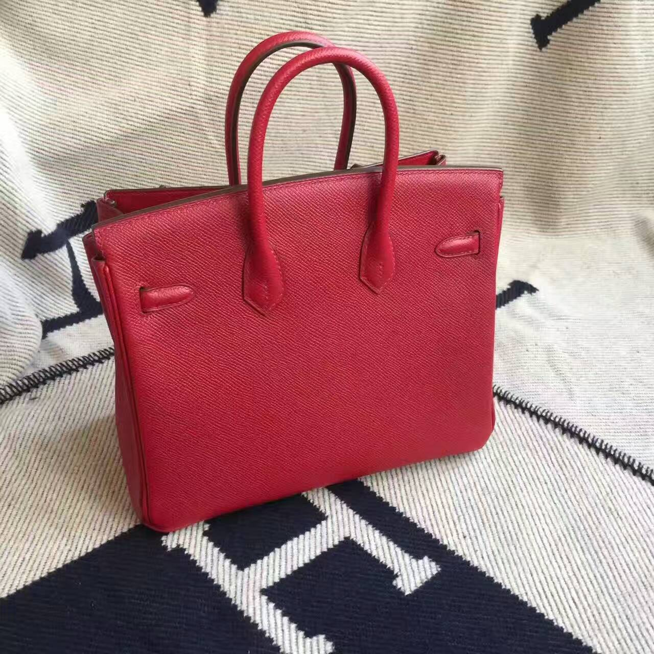 Hand Stitching Hermes Epsom Calfskin Leather Birkin25cm in K1 Rouge Grenade