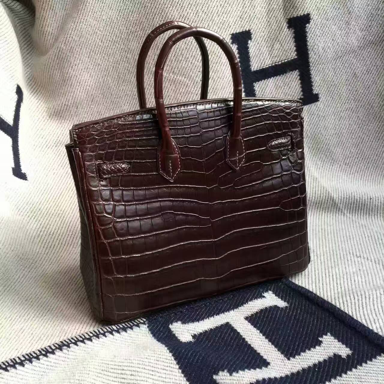 Sale Hermes Crocodile Matt Leather Birkin Bag 25cm in Chocolate Color