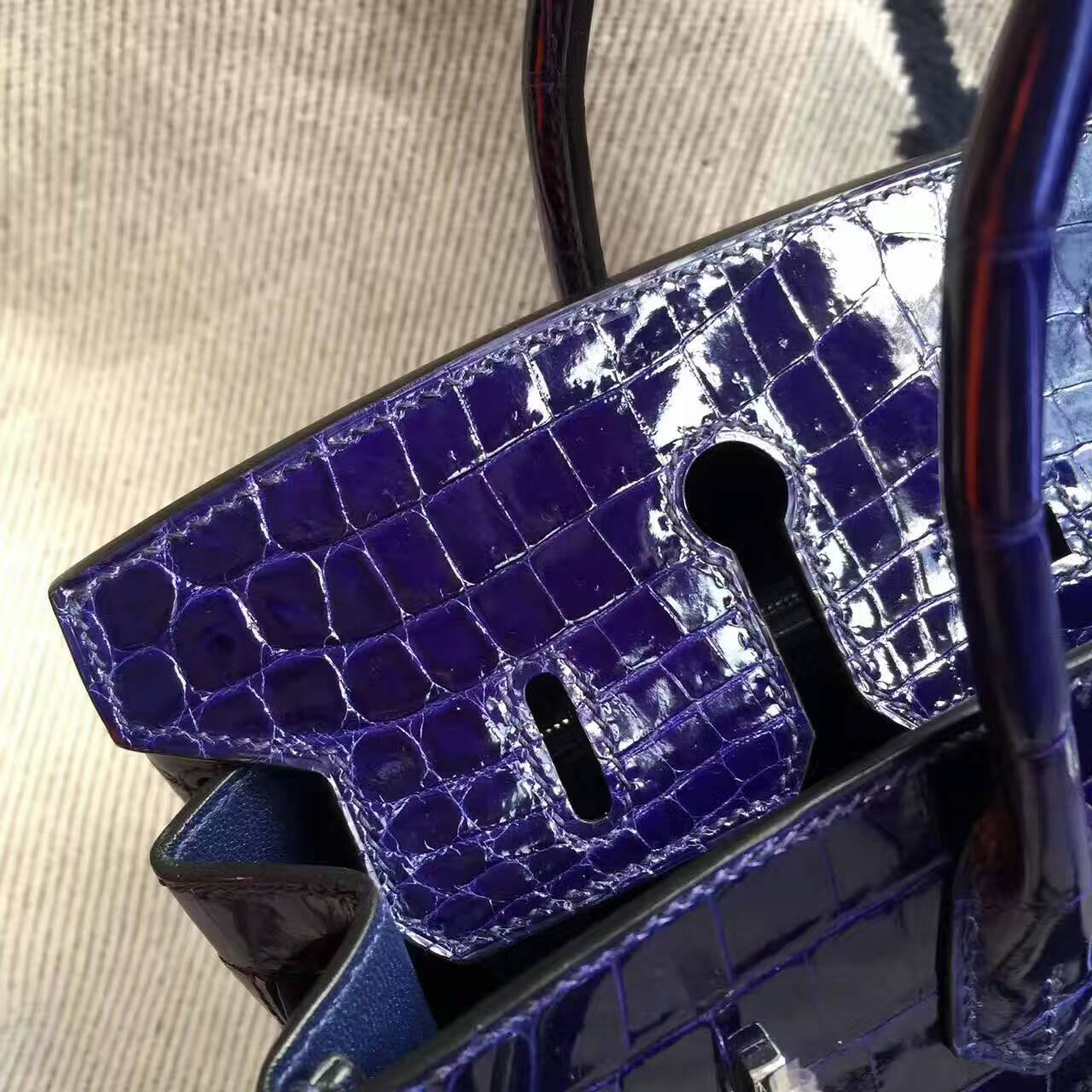 Wholesale Hermes 7T Blue Electric Crocodile Shiny Leather Birkin Bag 25cm