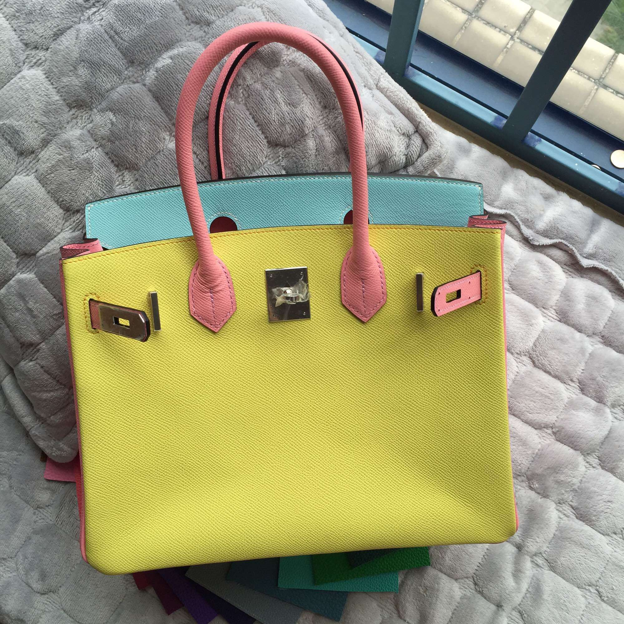 30CM Hermes Birkin Bag C9 Lime Yellow/3P Lagon Blue/1Q Rose Confetti Epsom Leather