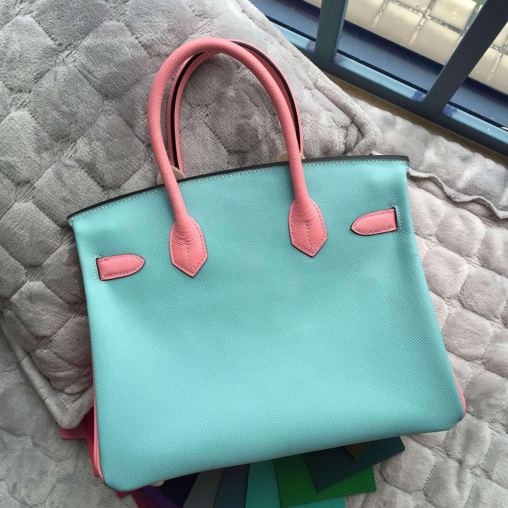 30CM Hermes Birkin Bag C9 Lime Yellow/3P Lagon Blue/1Q Rose Confetti Epsom Leather