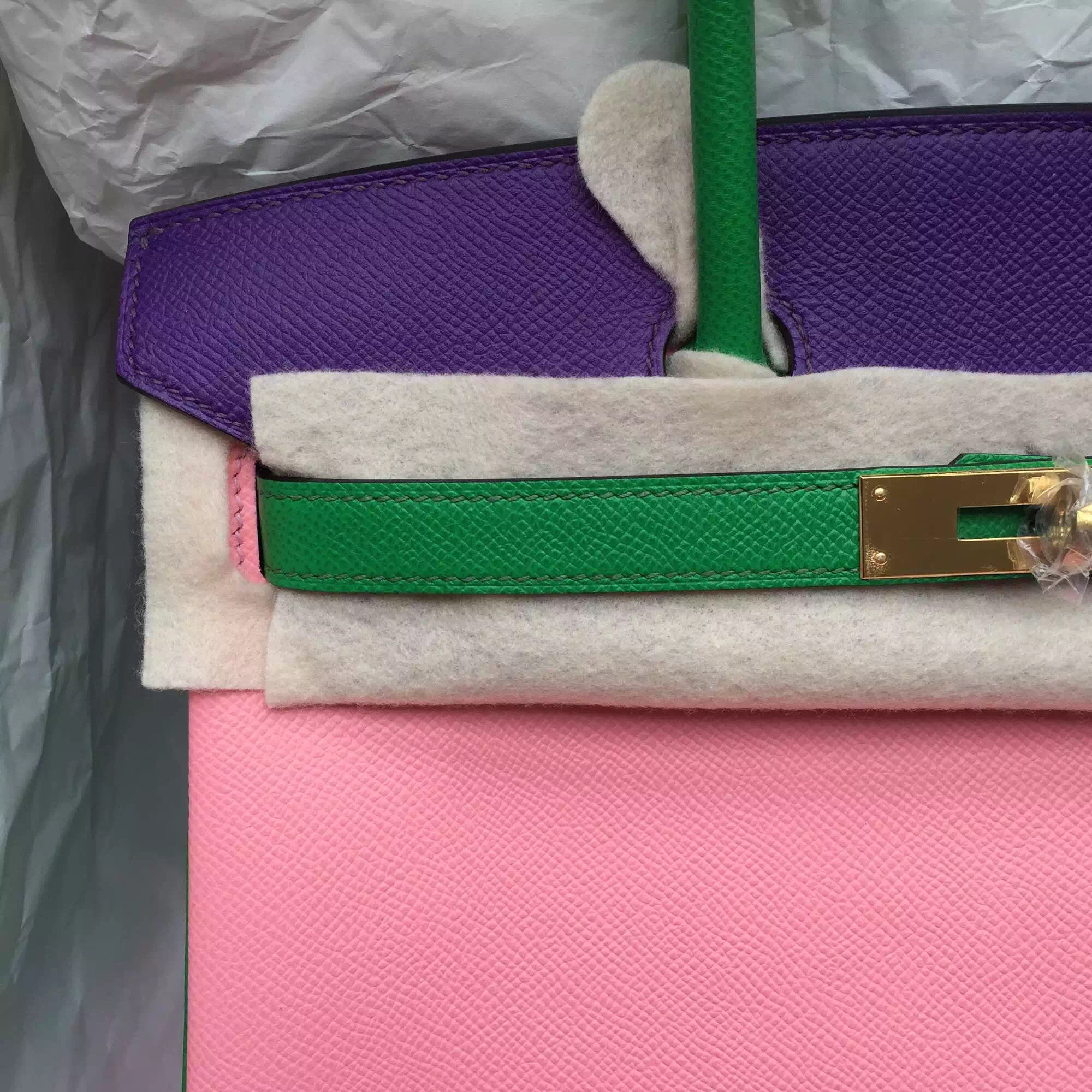 Wholesale Hermes Birkin Bag 30CM 1Q Rose Confetti/1K Bamboo Green/9W Ultraviolet Epsom Leather