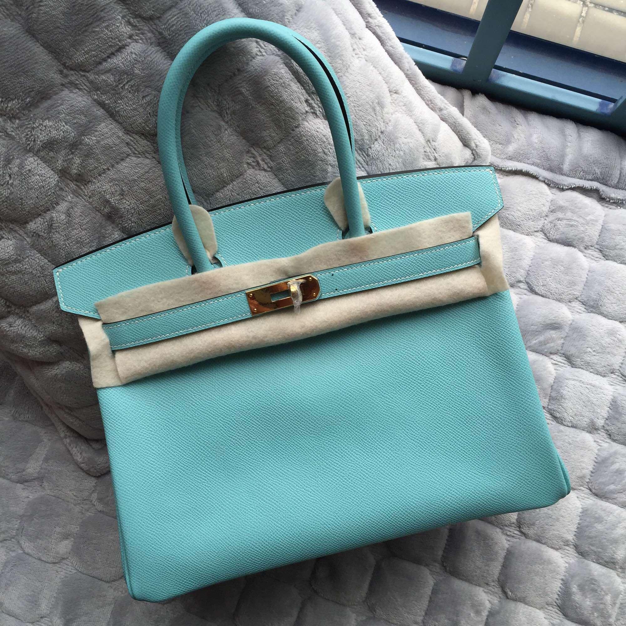 Cheap Hermes Birkin Bag in 3P Lagon Blue Epsom Leather Women's Tote Bag 30CM
