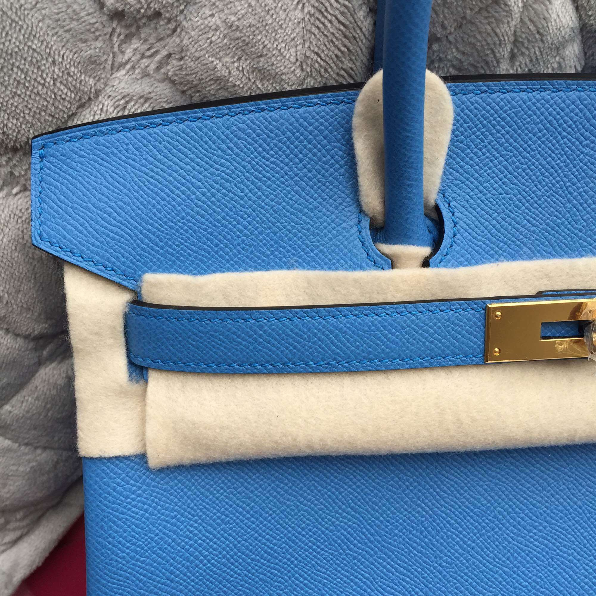 Hand Stitching 2T Blue Paradise Epsom Leather Hermes Birkin Bag 30CM Wholesale