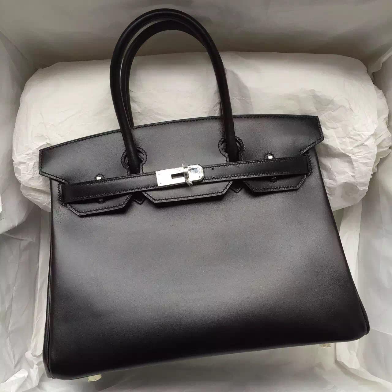 2015 New Hermes Birkin Bag 30CM in Black Box Leather Gold & Silver Hardware Tote Bag
