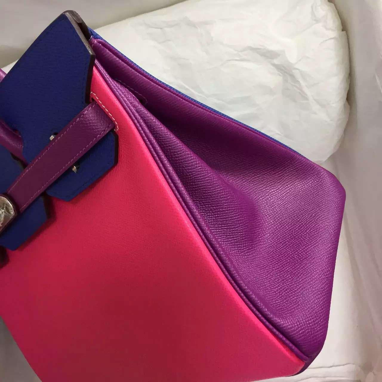 Cheap Hermes Color Blocking Epsom Calfskin Leather Birkin Bag 30CM Women's Tote Bag