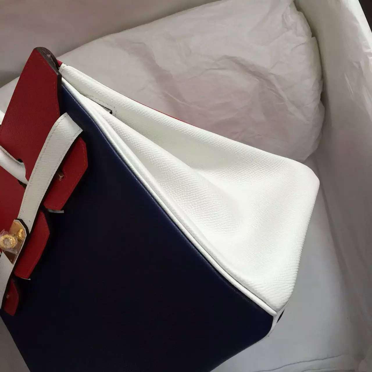Hermes 7K Blue Saphir/Q5 Red/White Epsom Leather Birkin 30CM Gold Hardware Handbag