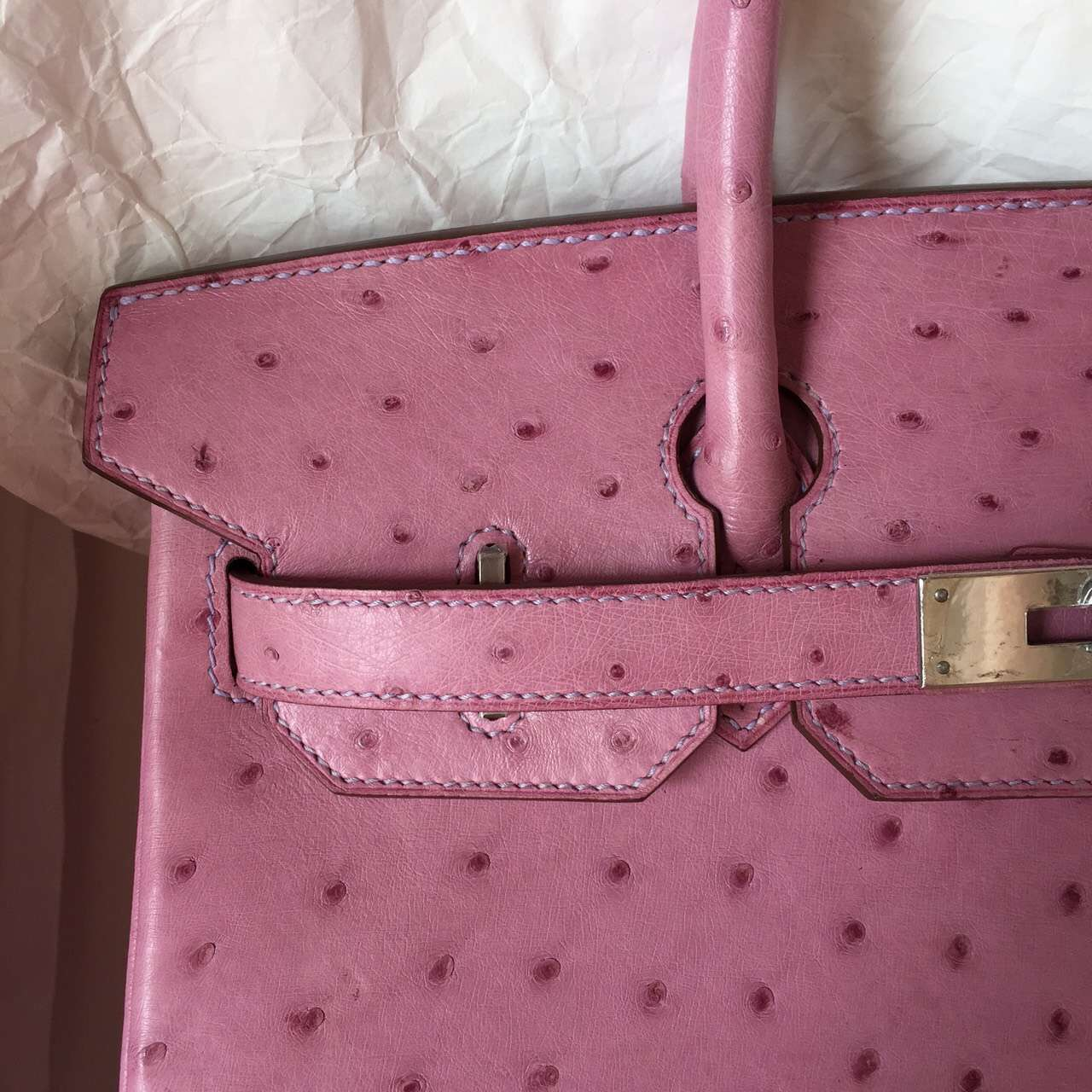 Wholesale Hermes Birkin Bag in Pink Purple Ostrich Leather Ladies' Handbag 30CM