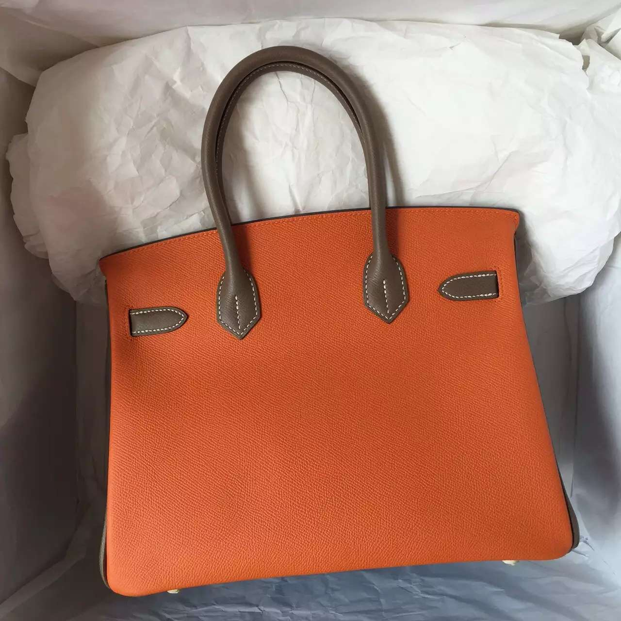 Cheap Hermes Epsom Leather Birkin Bag 30CM in 2T Blue Paradise/Etoupe Grey/Orange Color