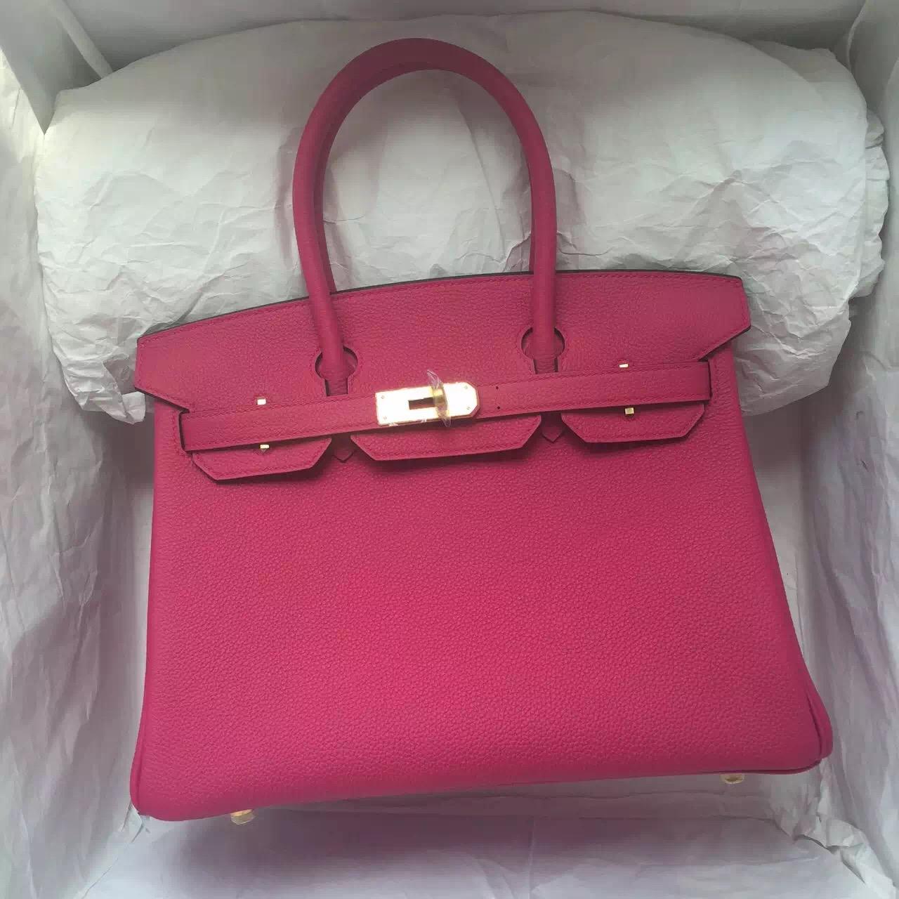 Wholesale Hermes 5R Hot Pink Togo Leather Birkin Bag 30CM Women's Tote Bag