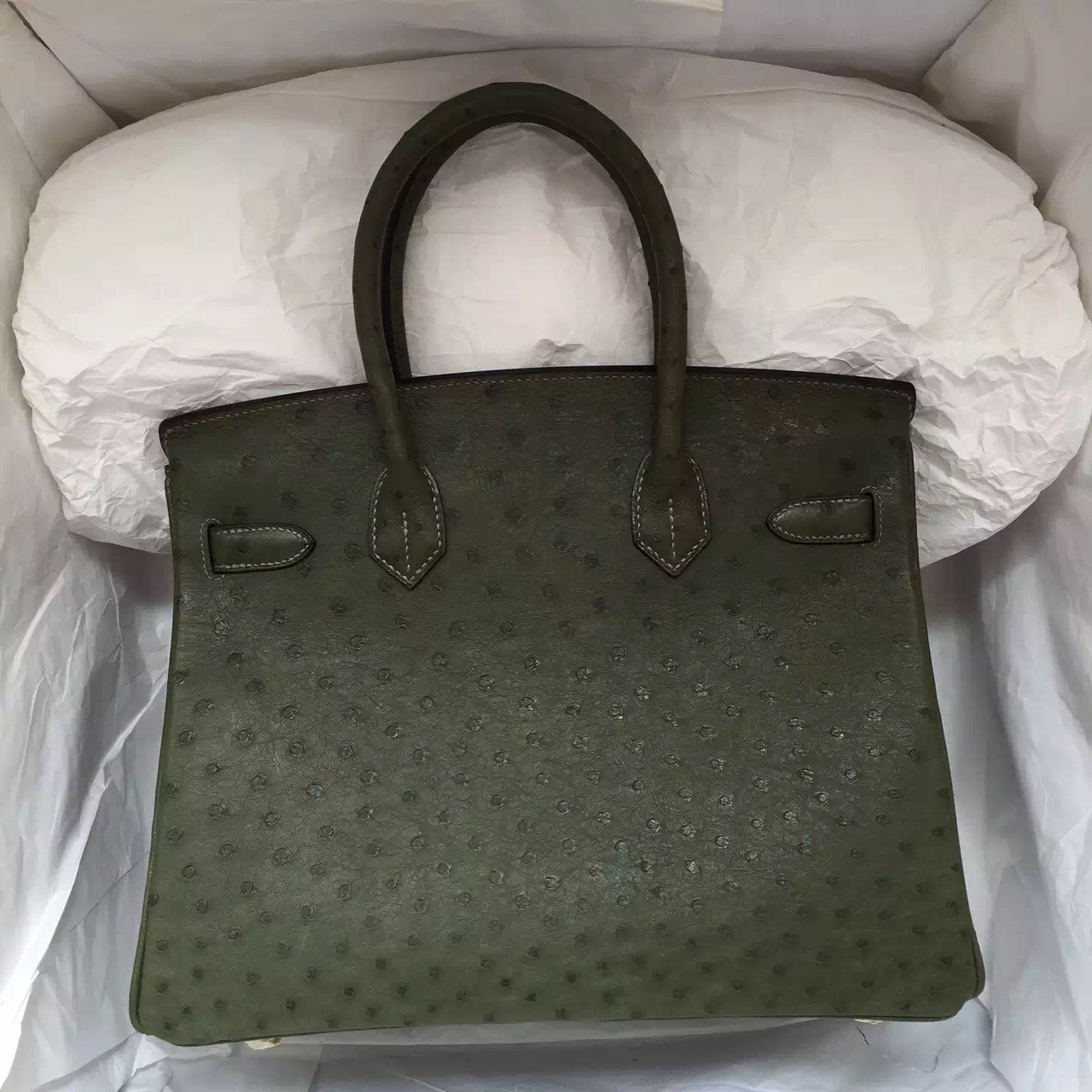 Hand Stitching Hermes Birkin 30CM in V6 Canopee Green Ostrich Leather Tote Bag