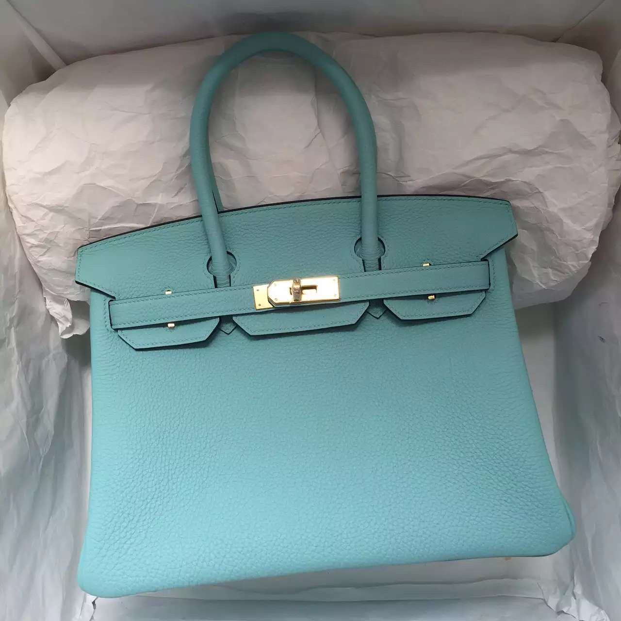Discount Hermes 3P Lagon Blue Togo Leather Birkin Bag 30CM Fashion Women's Handbag