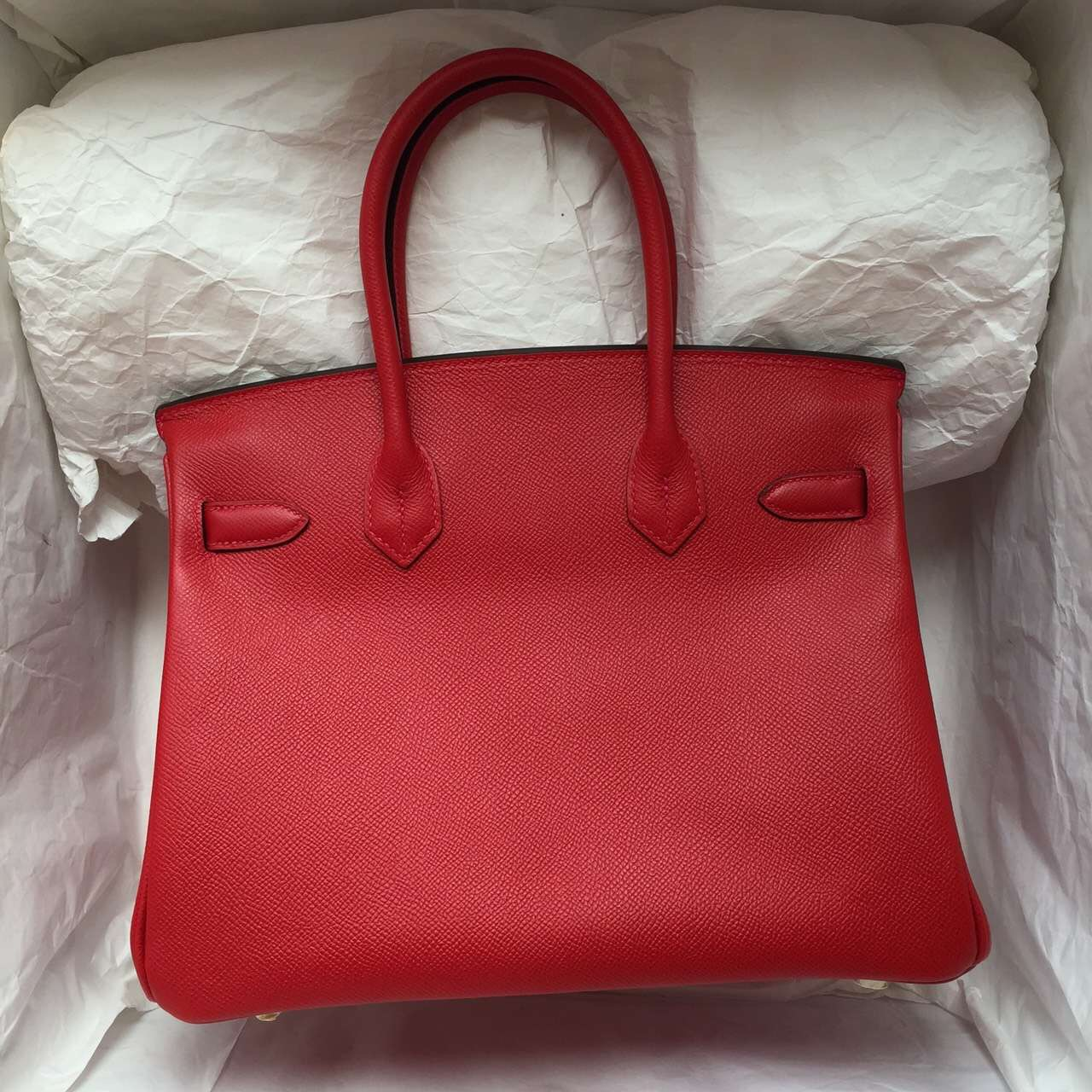 30CM Hermes Birkin Bag Q5 Chinese Red Epsom Leather Silver Hardware Online Shopping