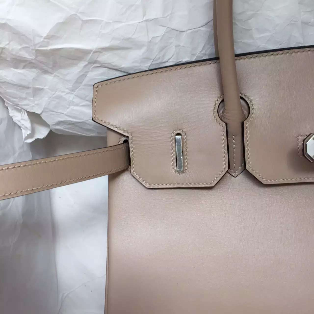 Luxury Hermes 1F Diamond Grey Box Calfskin Leather Birkin Bag 30CM Silver Hardware