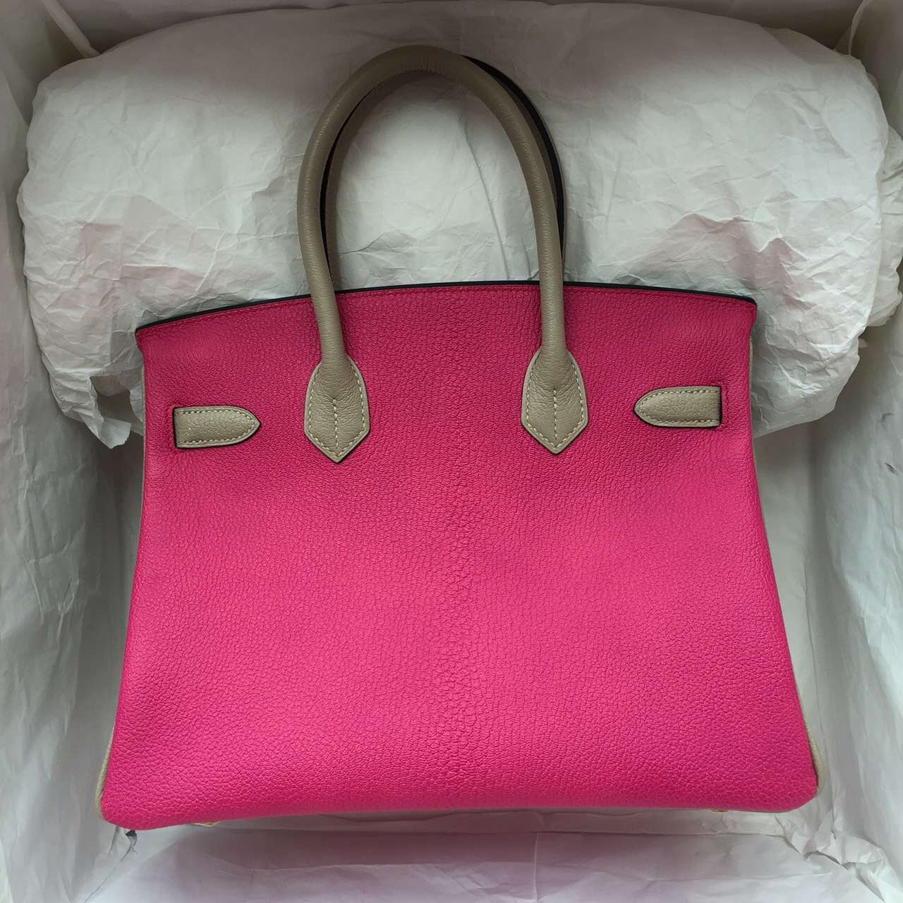2015 New Fashion Hermes E5 Candy Pink & Tourterelle Grey Chevre Leather Birkin Bag 30CM